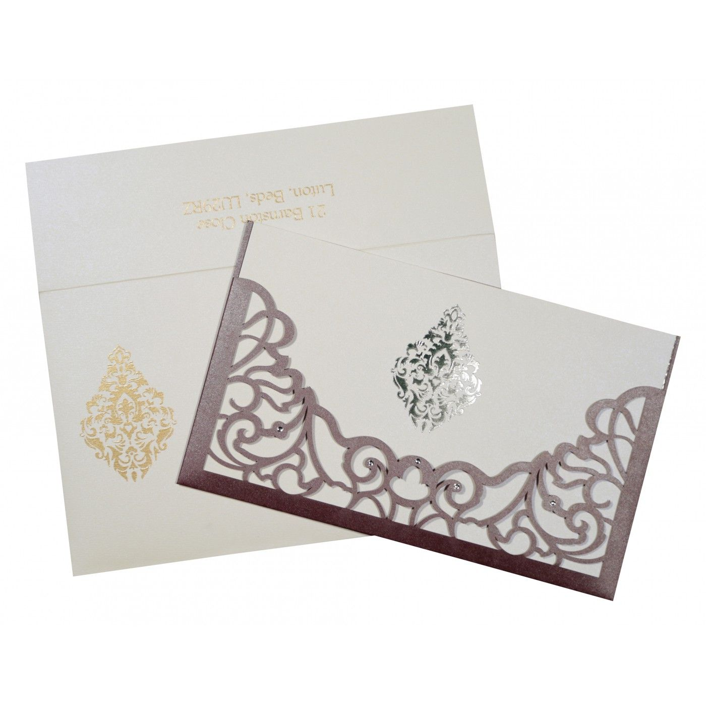 DESATURATED PINK SHIMMERY DAMASK THEMED - LASER CUT WEDDING CARD : CI-8262B - IndianWeddingCards