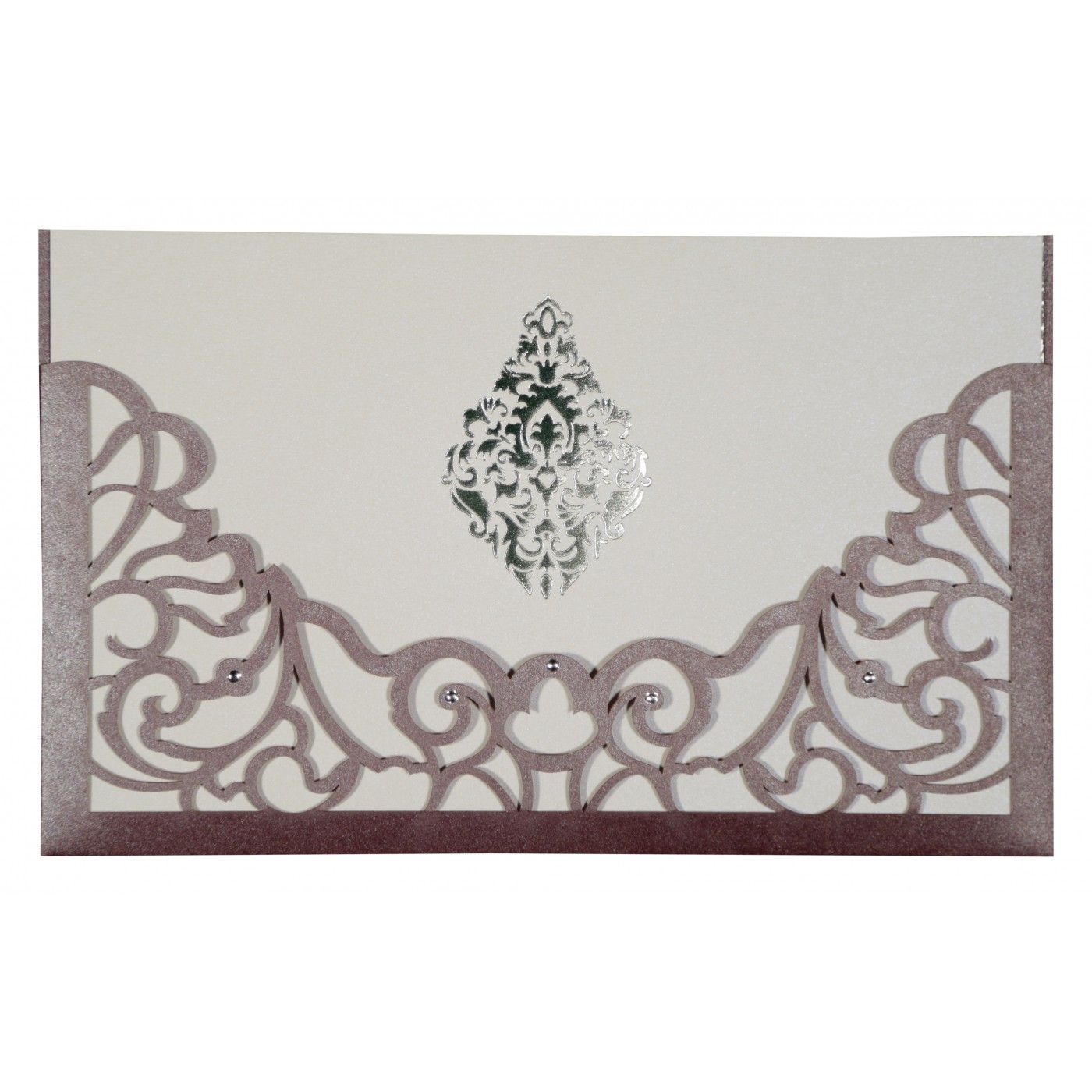 DESATURATED PINK SHIMMERY DAMASK THEMED - LASER CUT WEDDING CARD : CIN-8262B - IndianWeddingCards