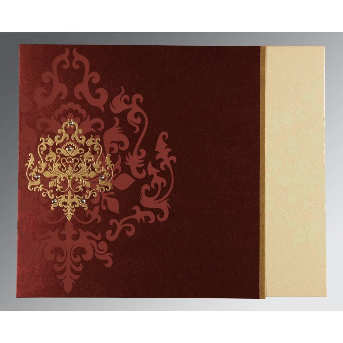 DERBY BROWN SHIMMERY DAMASK THEMED - SCREEN PRINTED WEDDING CARD : CIN-8253F - IndianWeddingCards