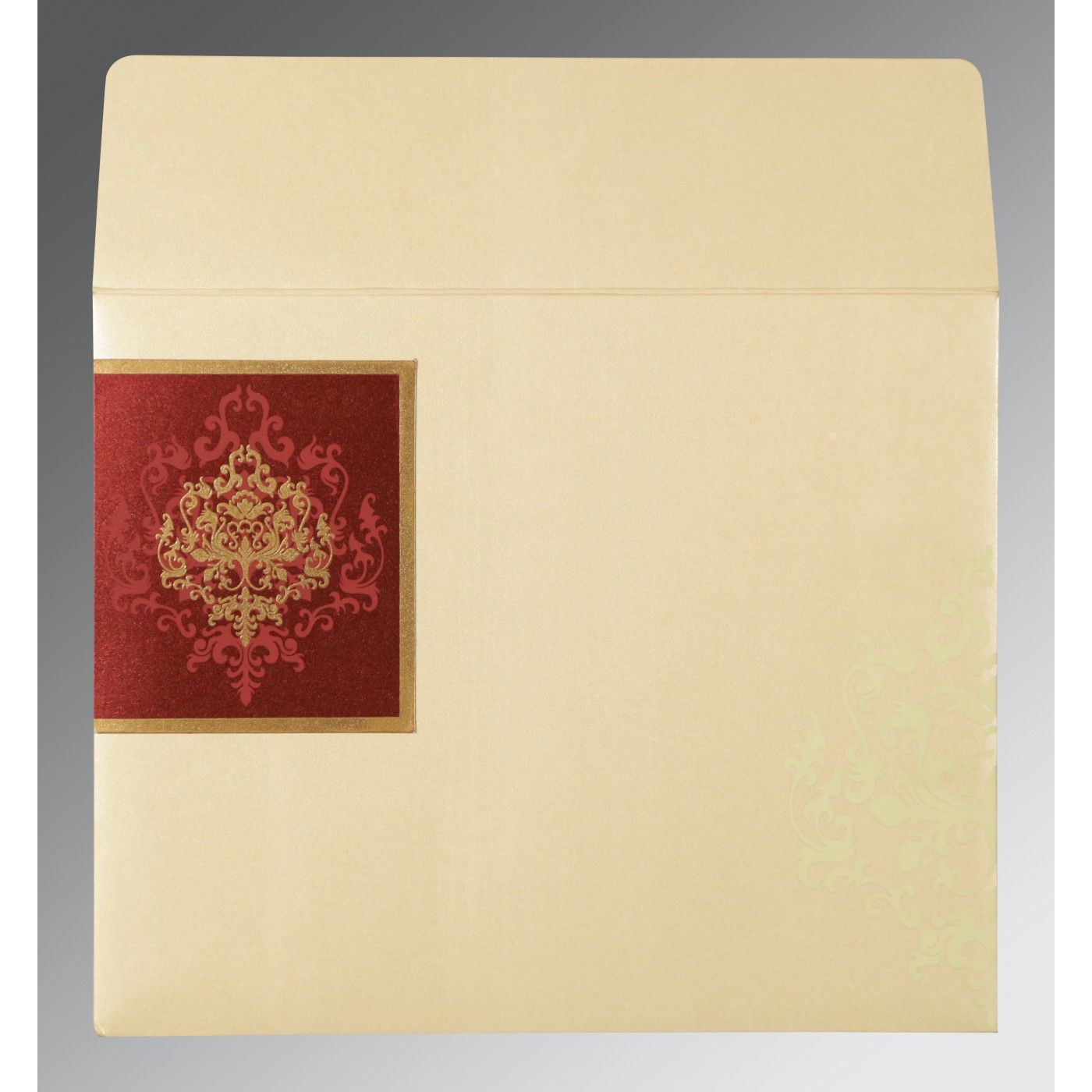 DERBY BROWN SHIMMERY DAMASK THEMED - SCREEN PRINTED WEDDING CARD : CSO-8253F - IndianWeddingCards
