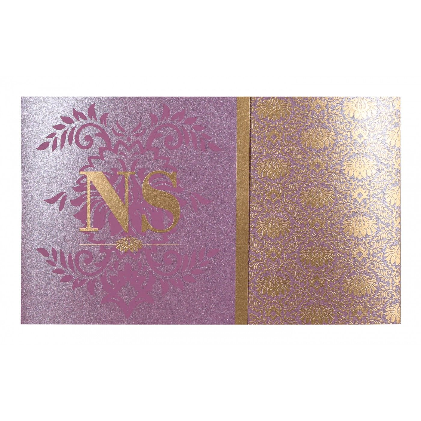 ORCHID SHIMMERY DAMASK THEMED - SCREEN PRINTED WEDDING INVITATION : CSO-8261A - IndianWeddingCards