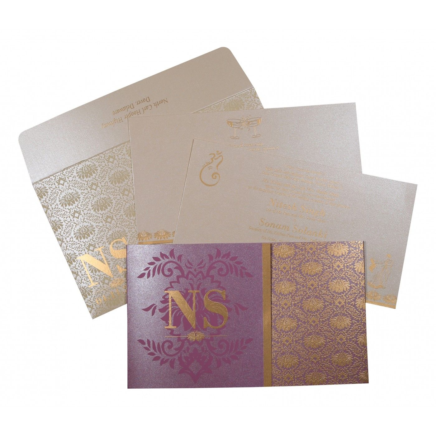 ORCHID SHIMMERY DAMASK THEMED - SCREEN PRINTED WEDDING INVITATION : CW-8261A - IndianWeddingCards