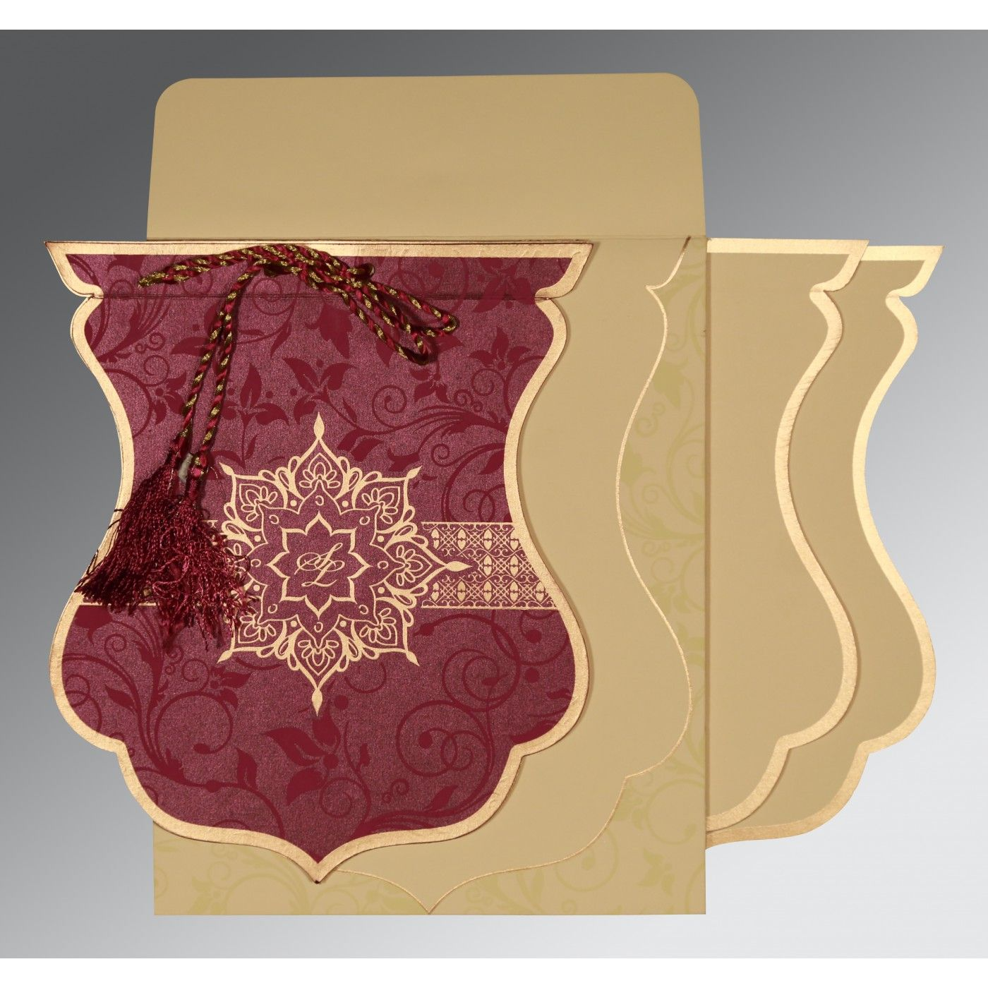 CLARET SHIMMERY FLORAL THEMED - SCREEN PRINTED WEDDING CARD : CD-8229K - IndianWeddingCards