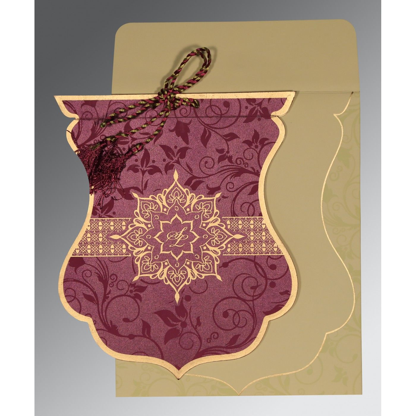 CLARET SHIMMERY FLORAL THEMED - SCREEN PRINTED WEDDING CARD : CG-8229K - IndianWeddingCards