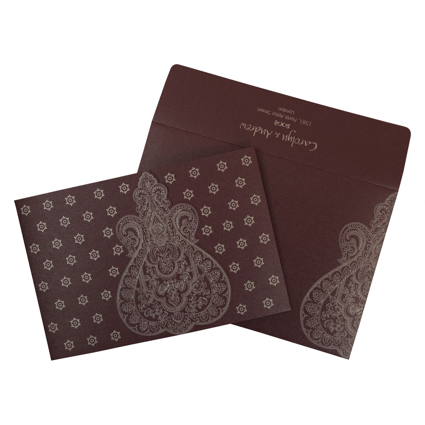 RAISIN SHIMMERY PAISLEY THEMED - SCREEN PRINTED WEDDING INVITATION : CG-801C - IndianWeddingCards