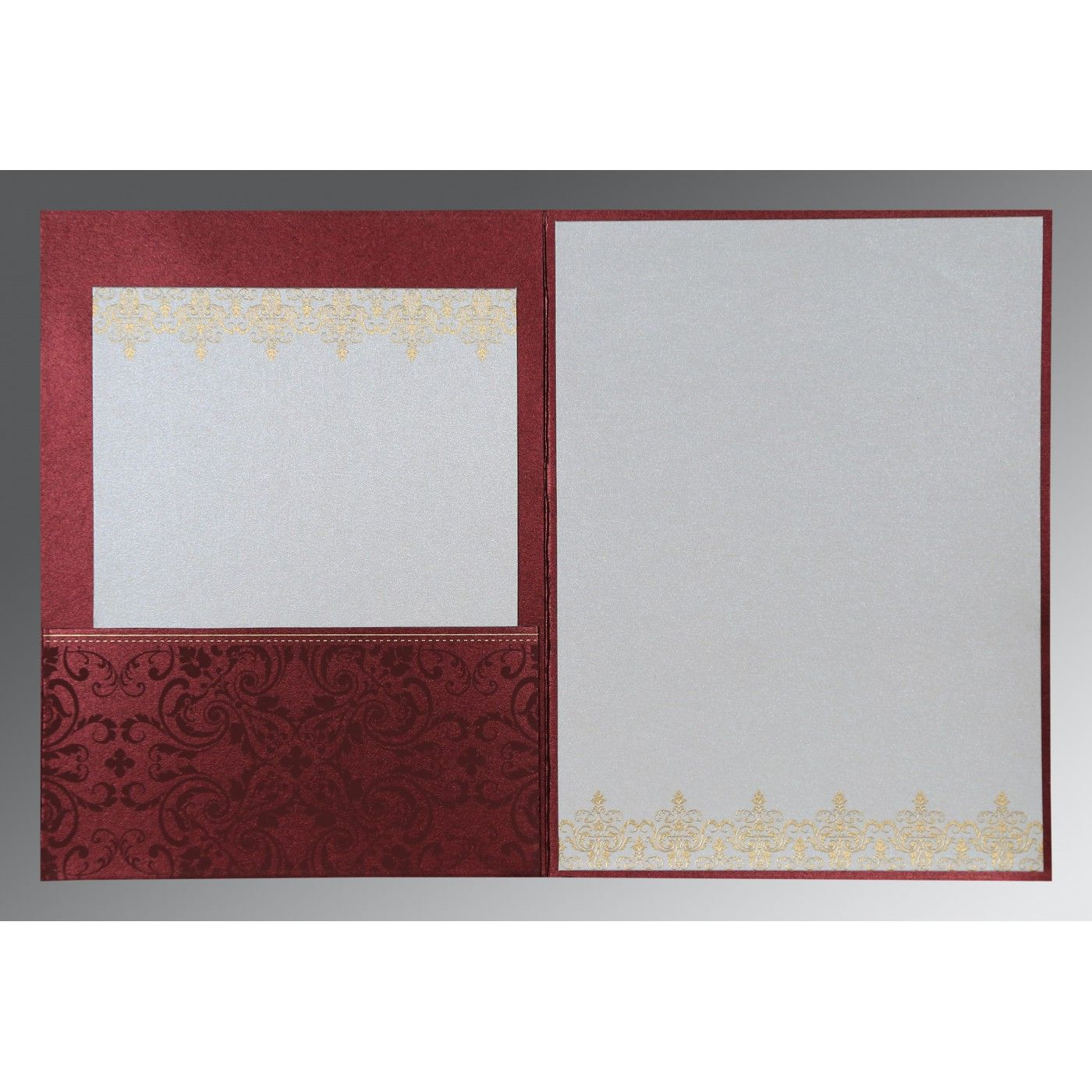 BURGUNDY SHIMMERY SCREEN PRINTED WEDDING CARD : CI-8244H - IndianWeddingCards