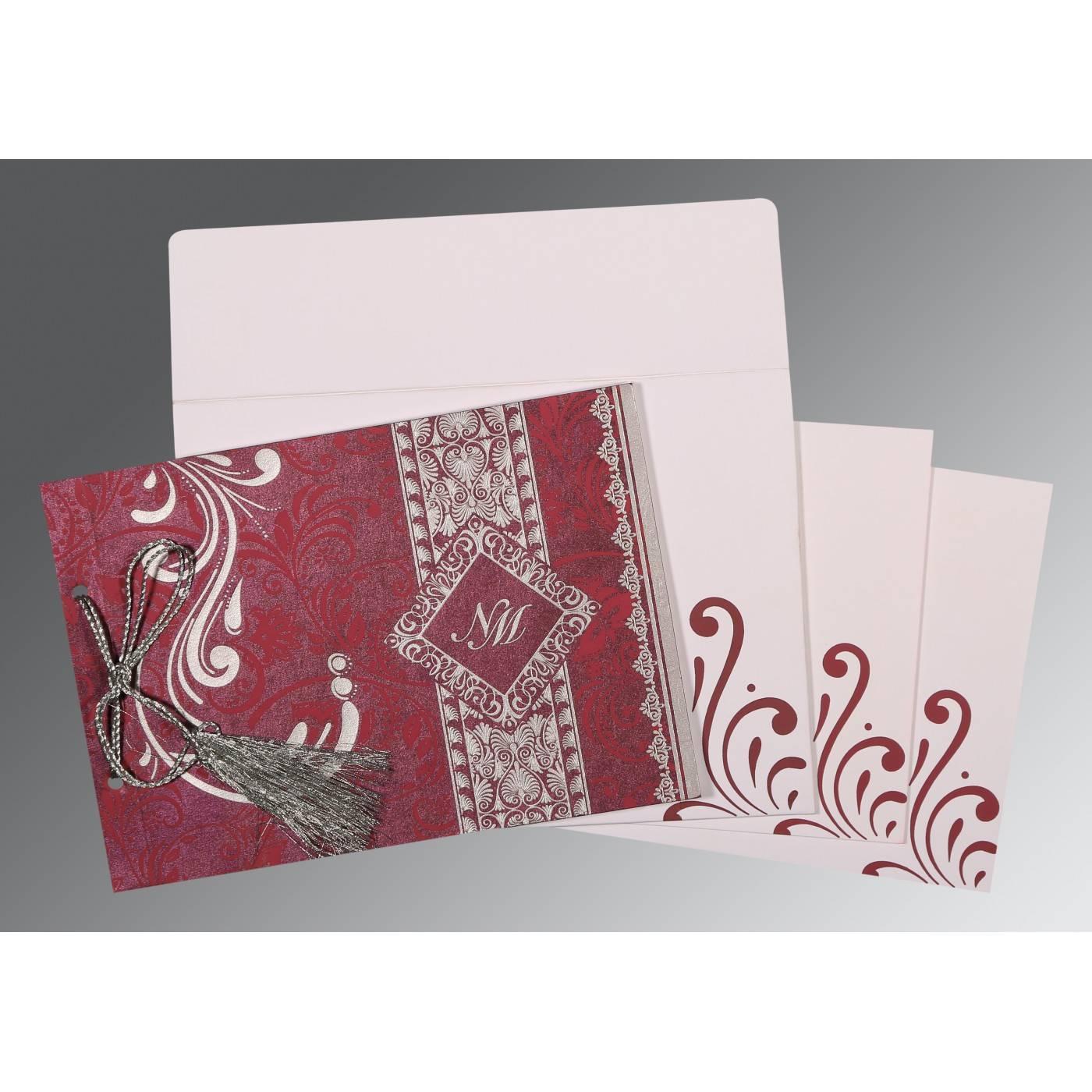 RAISIN SHIMMERY SCREEN PRINTED WEDDING CARD : CIN-8223J - IndianWeddingCards