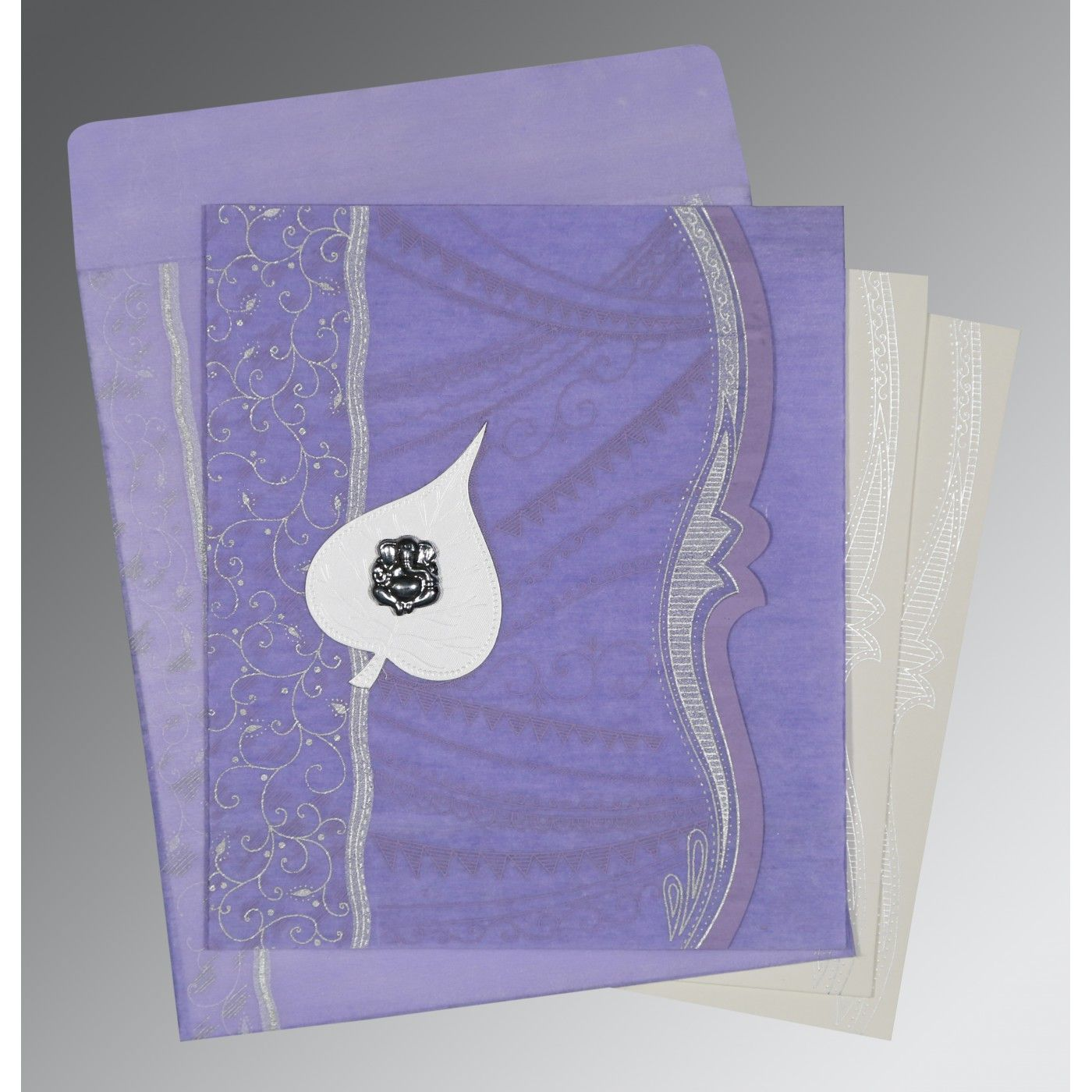 VIOLET SHIMMERY EMBOSSED WEDDING CARD : CIN-8210N - IndianWeddingCards