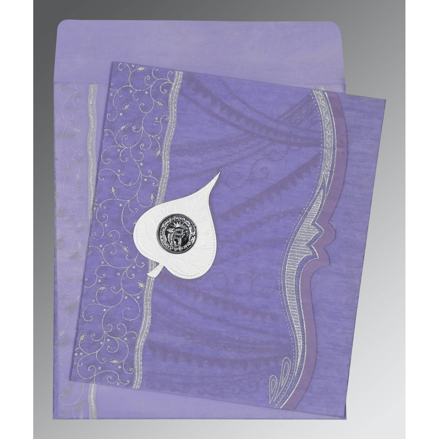 VIOLET SHIMMERY EMBOSSED WEDDING CARD : CRU-8210N - IndianWeddingCards