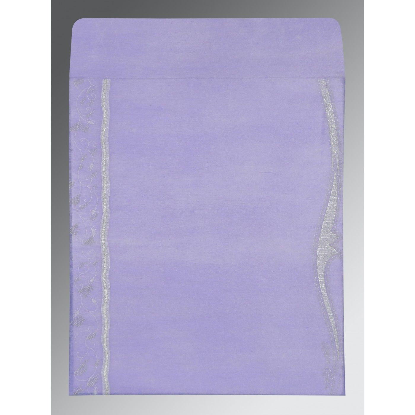 VIOLET SHIMMERY EMBOSSED WEDDING CARD : CW-8210N - IndianWeddingCards
