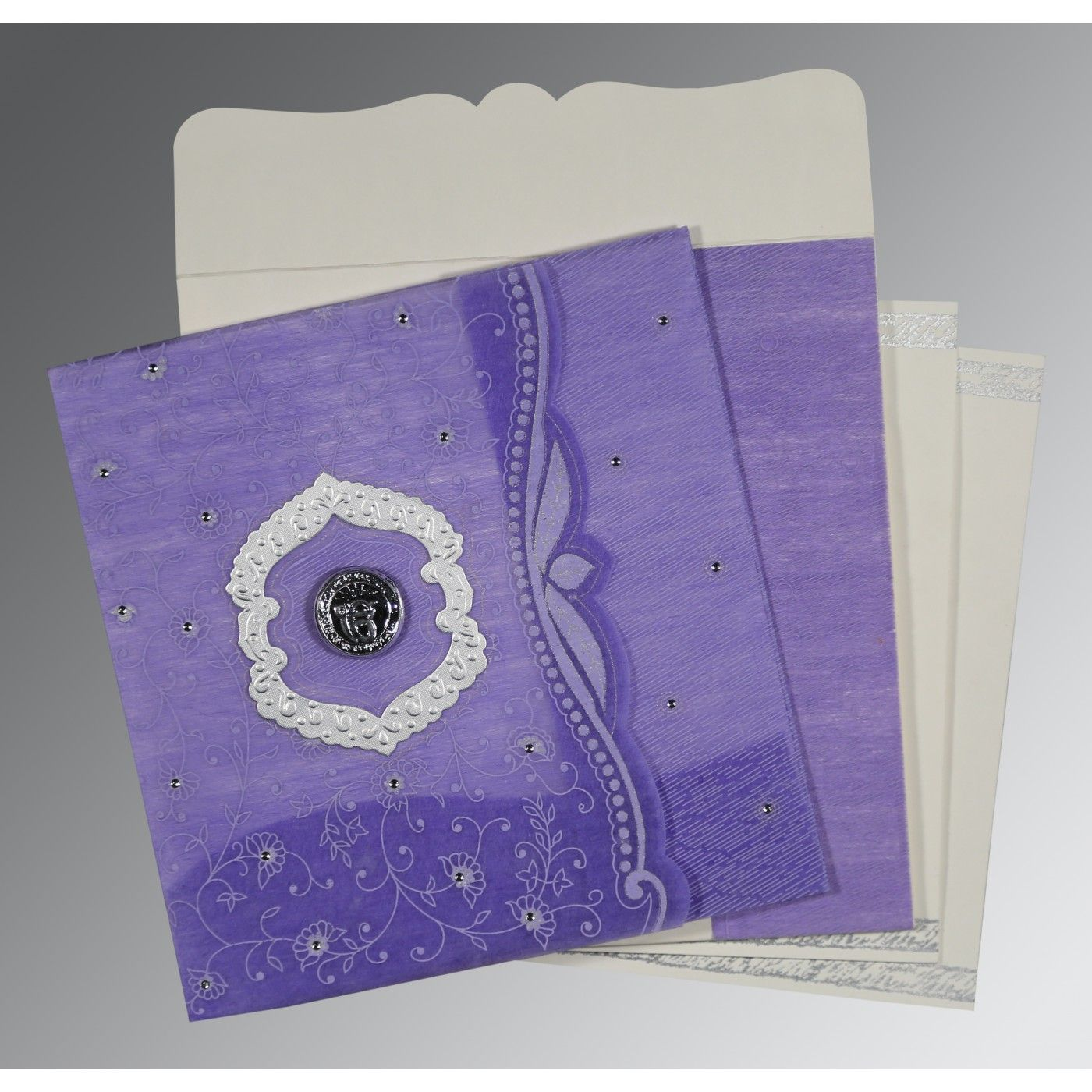DARK PURPLE SHIMMERY FLORAL THEMED - EMBOSSED WEDDING CARD : CS-8209C - IndianWeddingCards