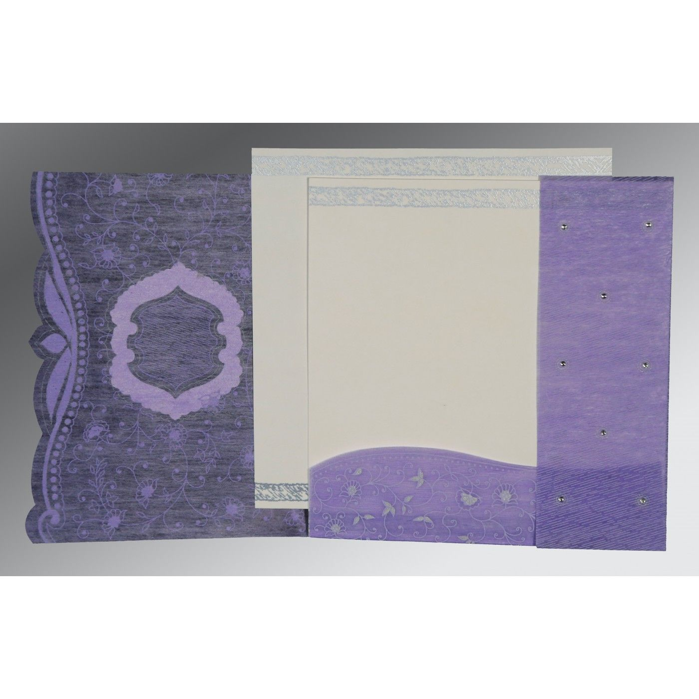 DARK PURPLE SHIMMERY FLORAL THEMED - EMBOSSED WEDDING CARD : CW-8209C - IndianWeddingCards