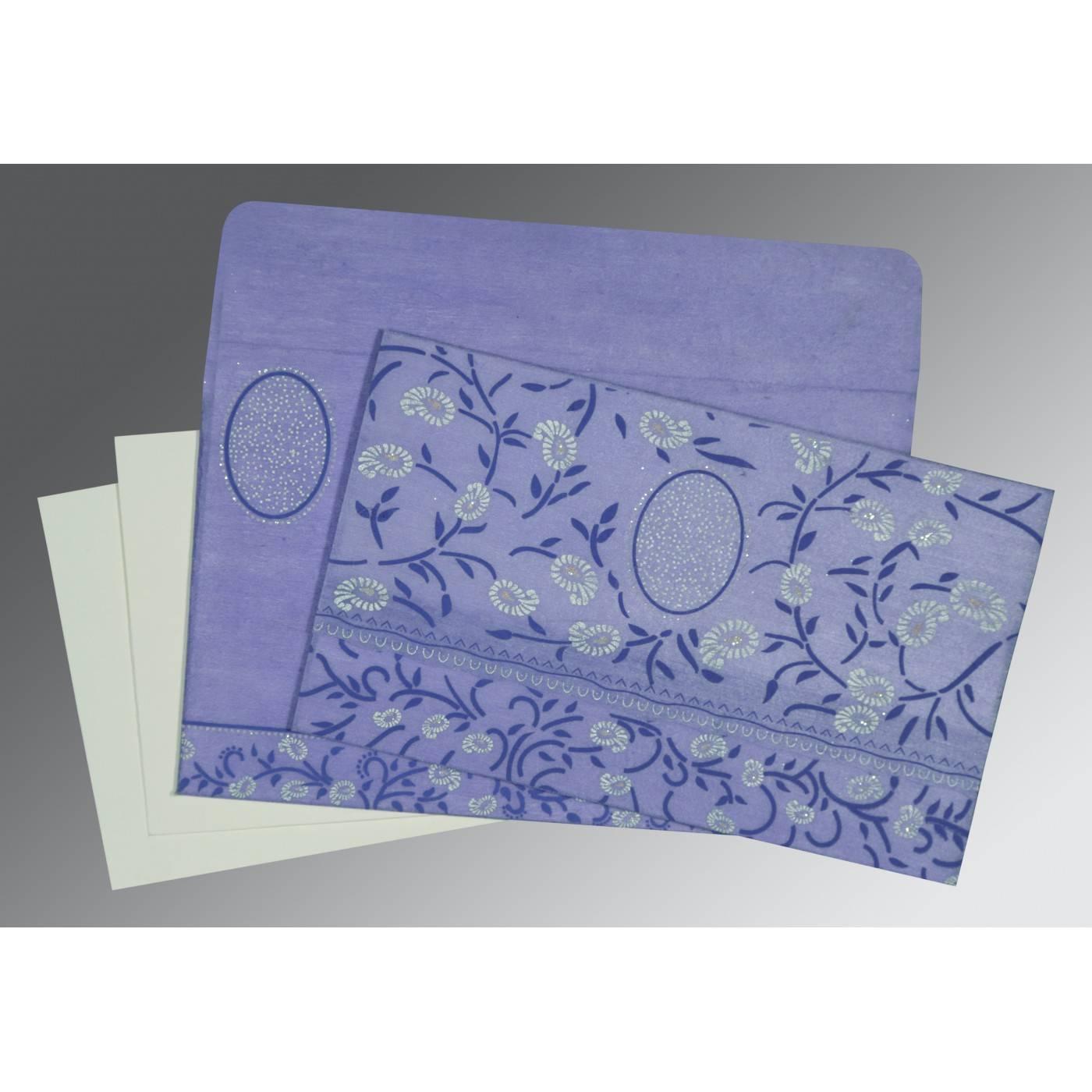 PURPLE WOOLY FLORAL THEMED - GLITTER WEDDING CARD : D-8206A - 123WeddingCards