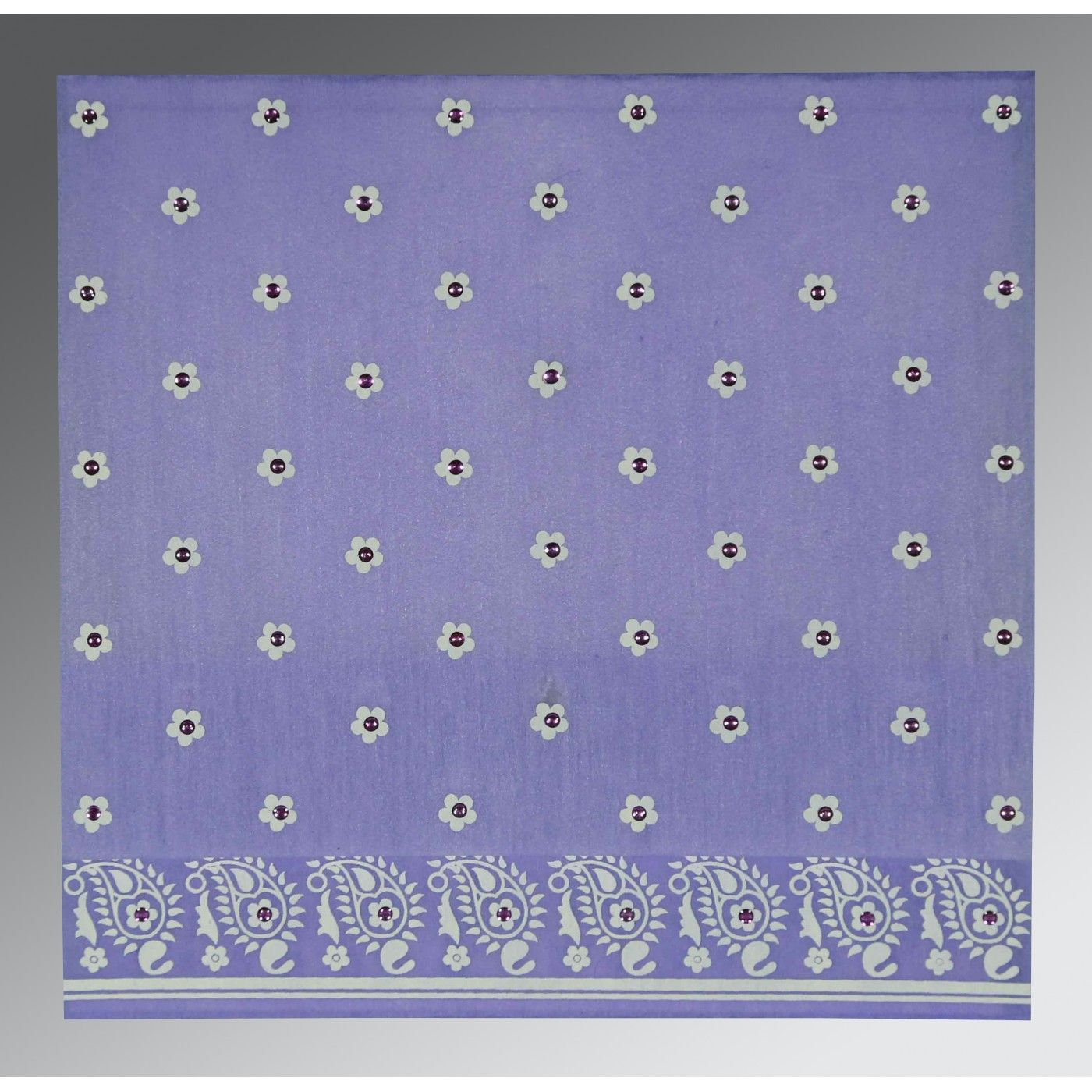PINK PURPLE WOOLY FLORAL THEMED - SCREEN PRINTED WEDDING CARD : CW-8218H - IndianWeddingCards