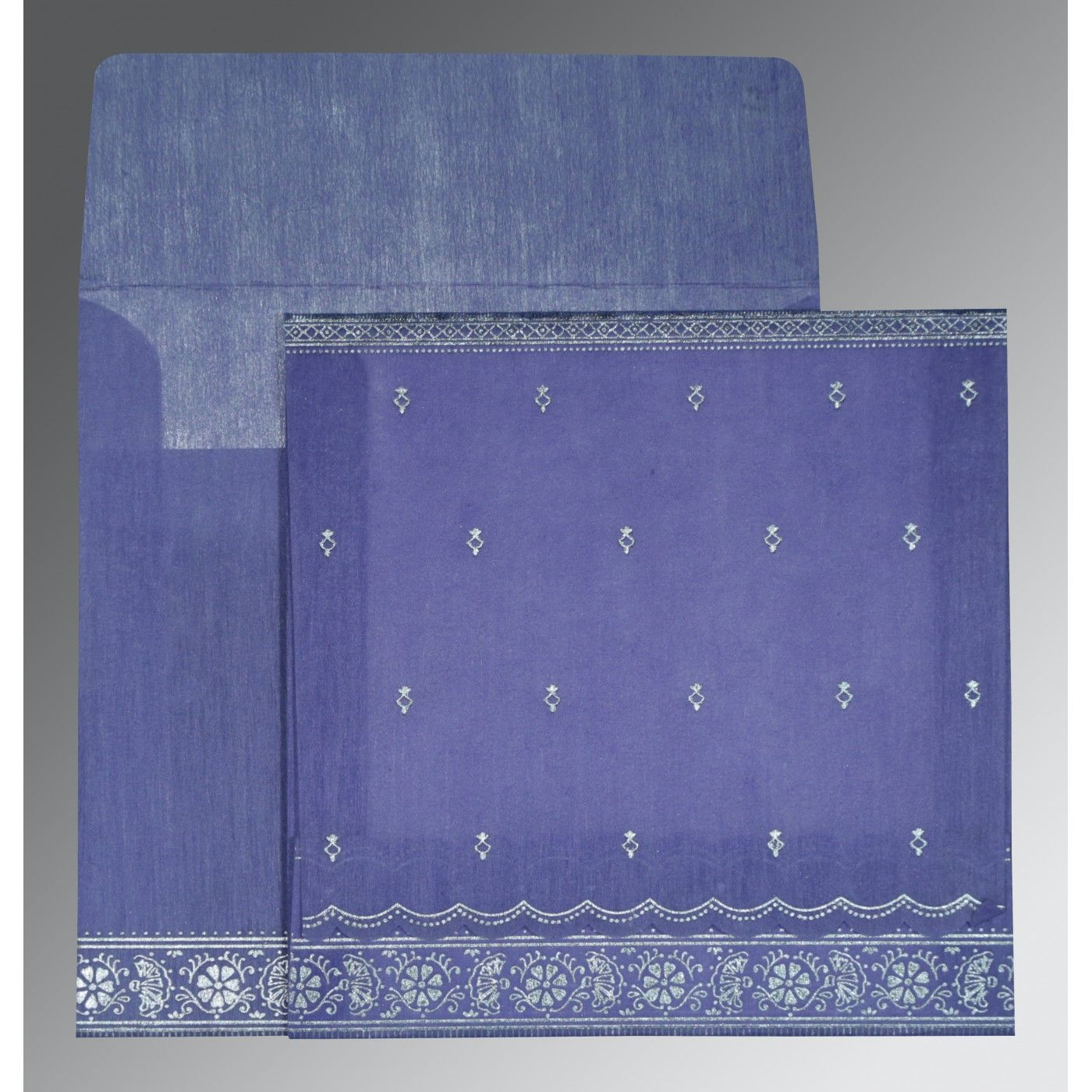 BLUE BELL WOOLY FOIL STAMPED WEDDING CARD : CSO-8242C - IndianWeddingCards
