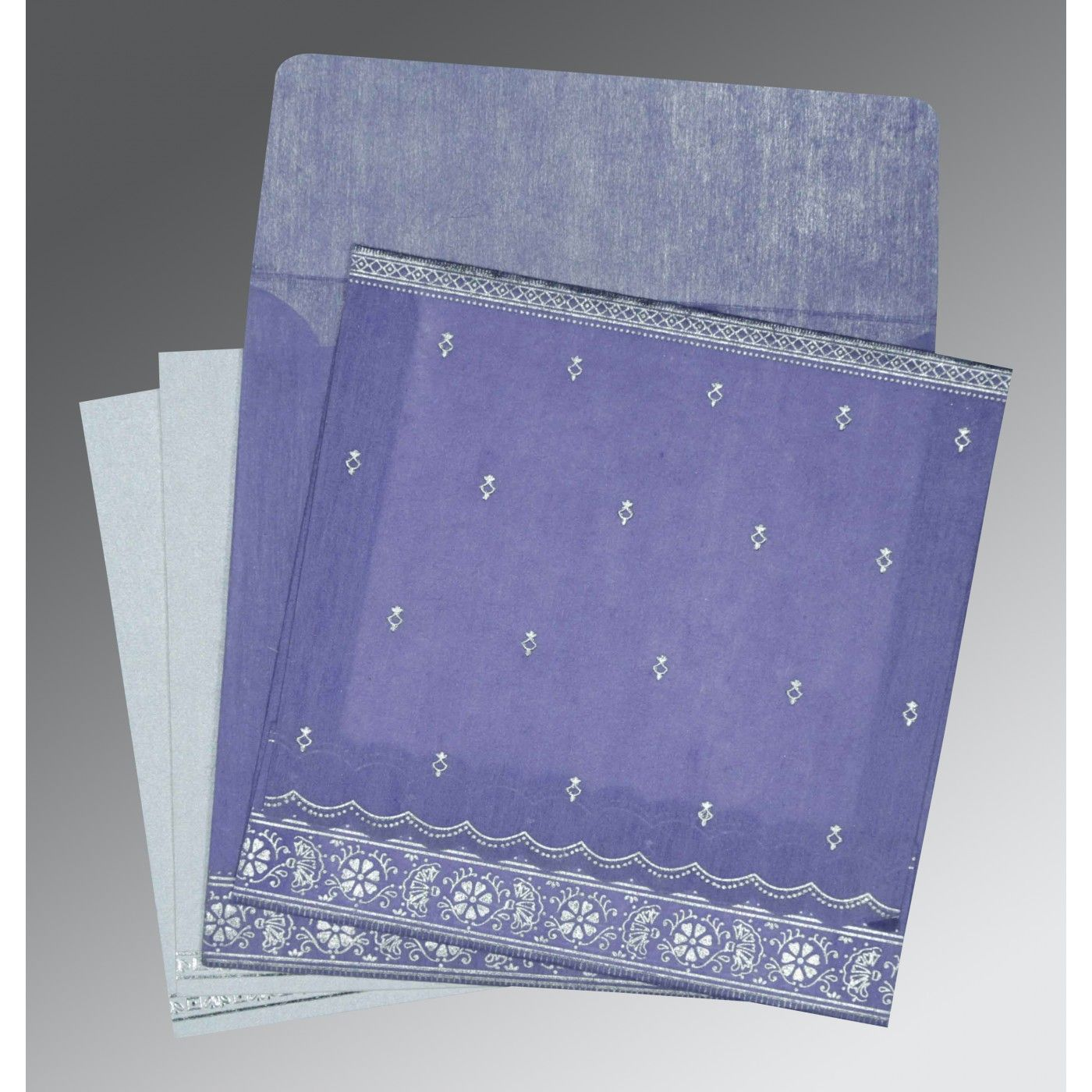 BLUE BELL WOOLY FOIL STAMPED WEDDING CARD : CW-8242C - IndianWeddingCards