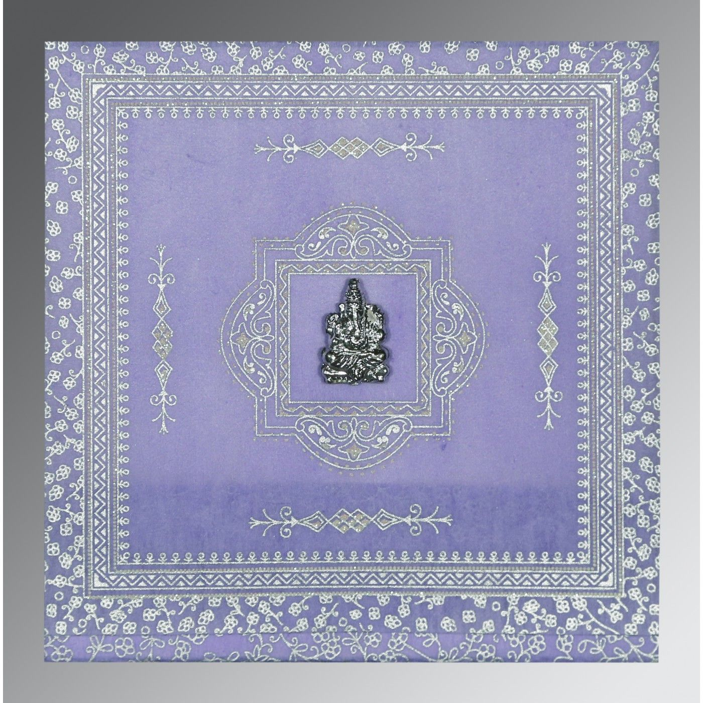 LAVENDER PURPLE WOOLY GLITTER WEDDING CARD : CIN-8205F - IndianWeddingCards