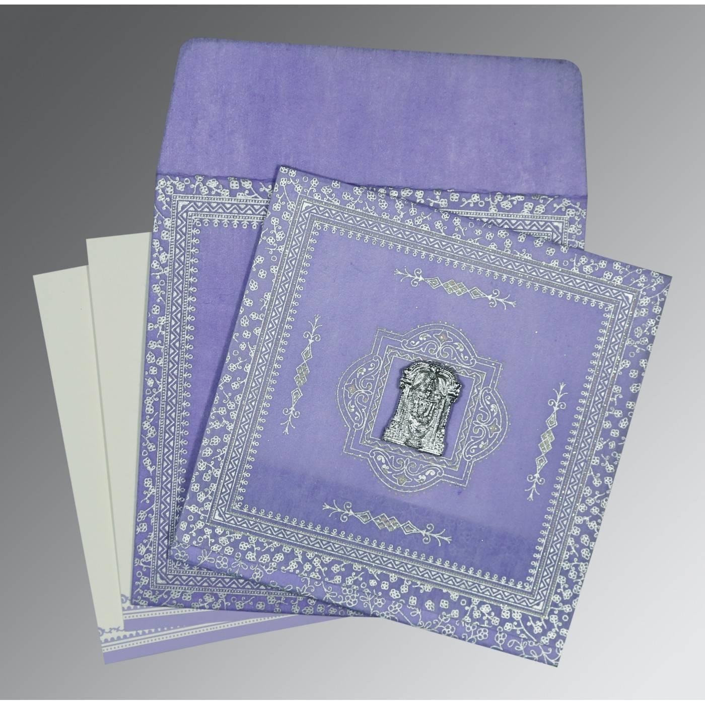 LAVENDER PURPLE WOOLY GLITTER WEDDING CARD : CSO-8205F - IndianWeddingCards
