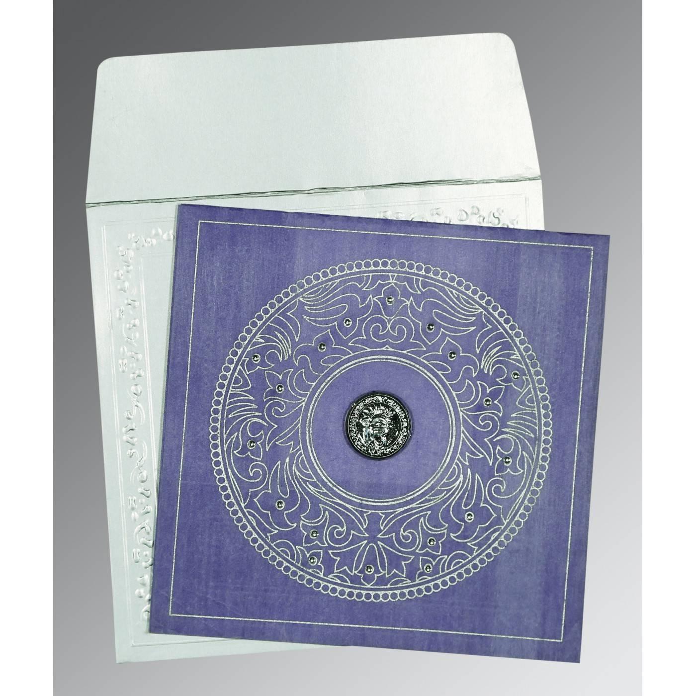PINK PURPLE WOOLY SCREEN PRINTED WEDDING CARD : CS-8214O - IndianWeddingCards
