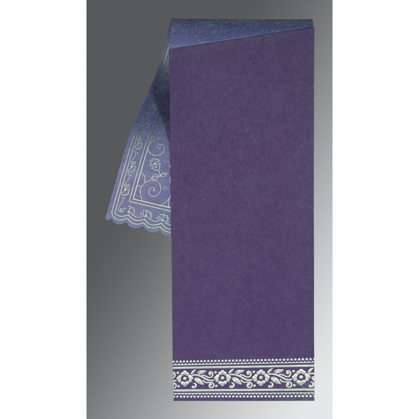 PURPLE WOOLY SCREEN PRINTED WEDDING INVITATION : CSO-8220P - IndianWeddingCards