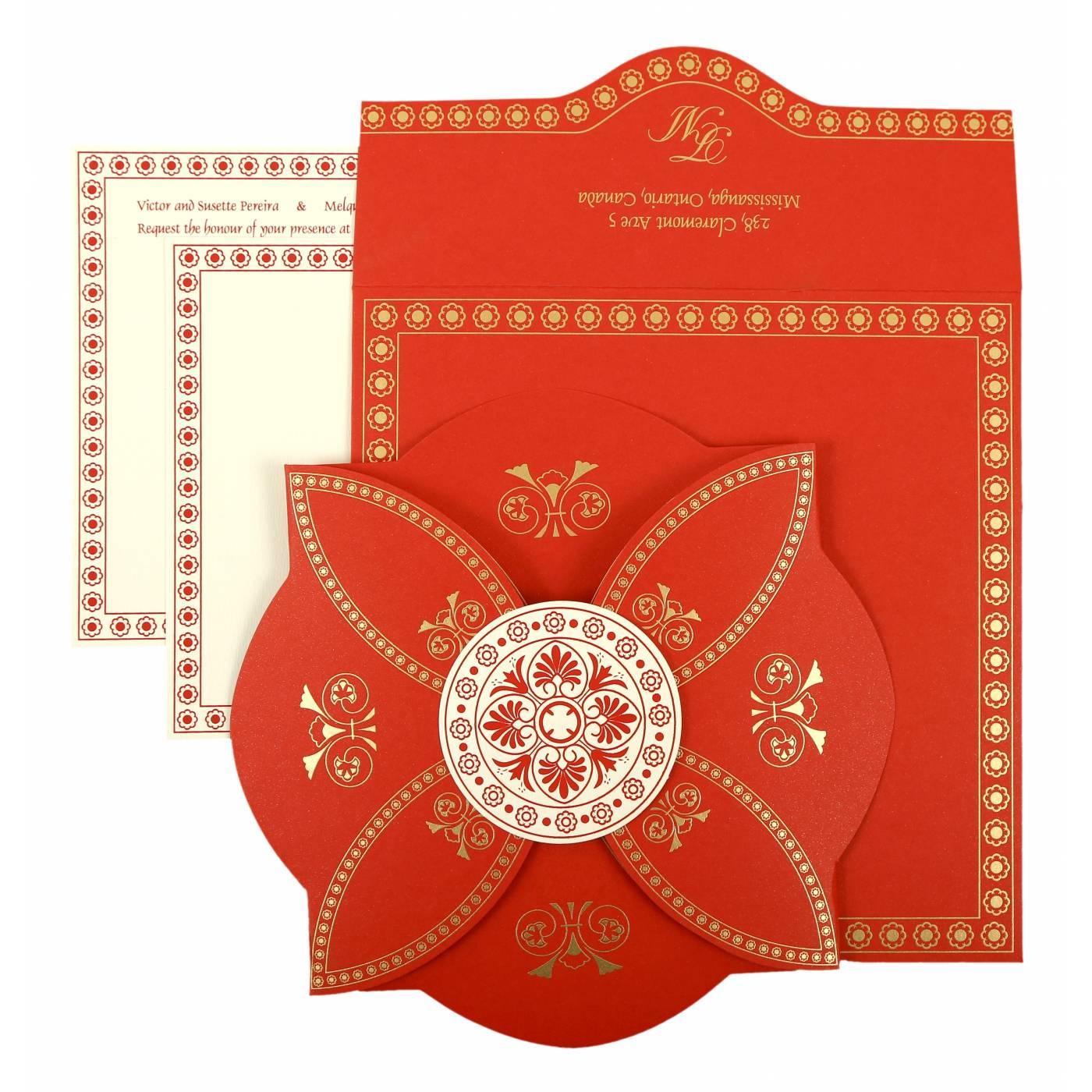 RED BUTTERFLY THEMED - SCREEN PRINTED WEDDING INVITATION : CIN-820B - IndianWeddingCards