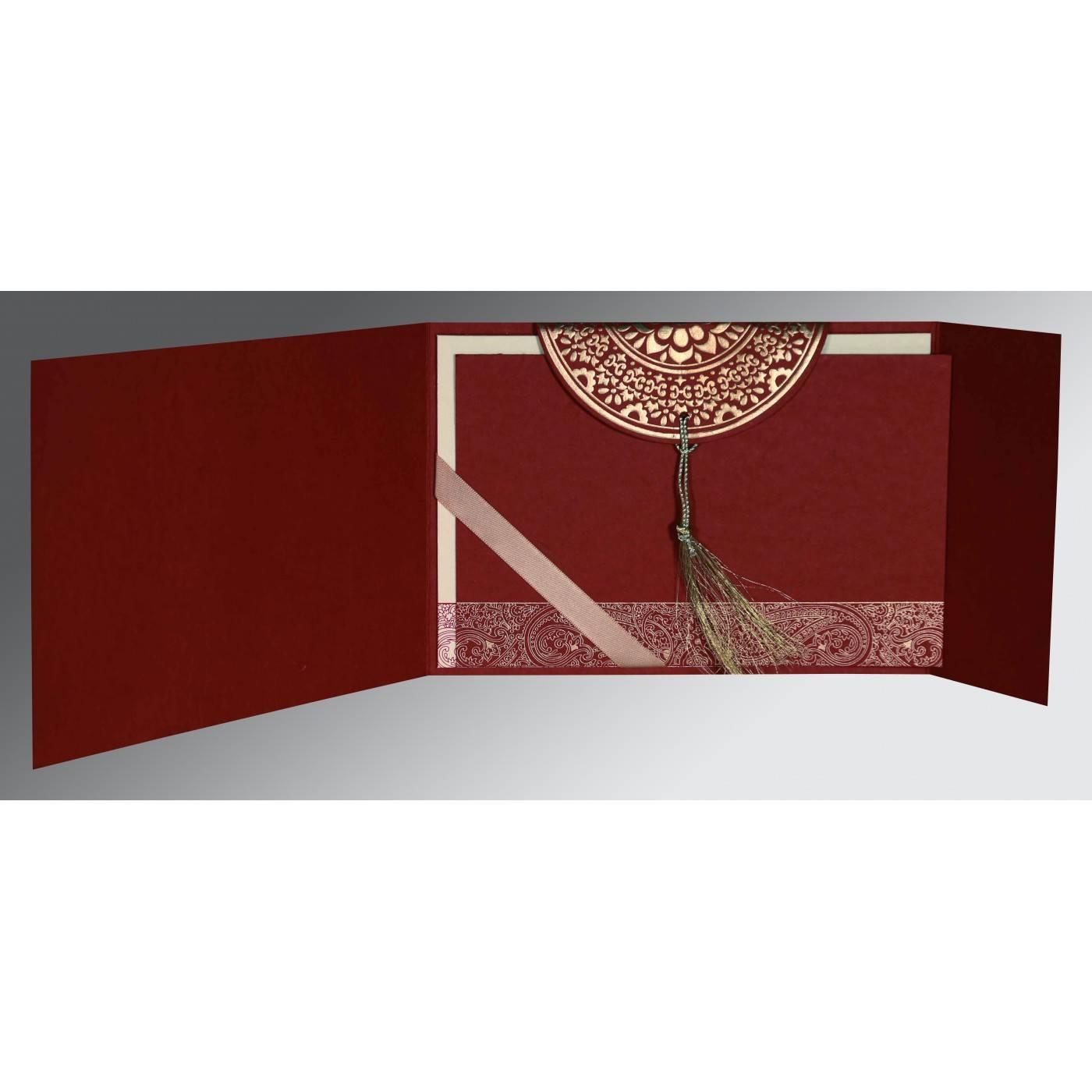 FALU RED HANDMADE COTTON EMBOSSED WEDDING CARD : CIN-8234L - IndianWeddingCards