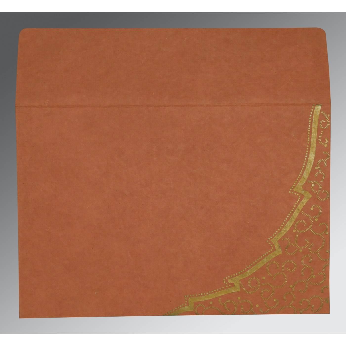 BURNT ORANGE HANDMADE COTTON FLORAL THEMED - FOIL STAMPED WEDDING CARD : CRU-8219M - IndianWeddingCards