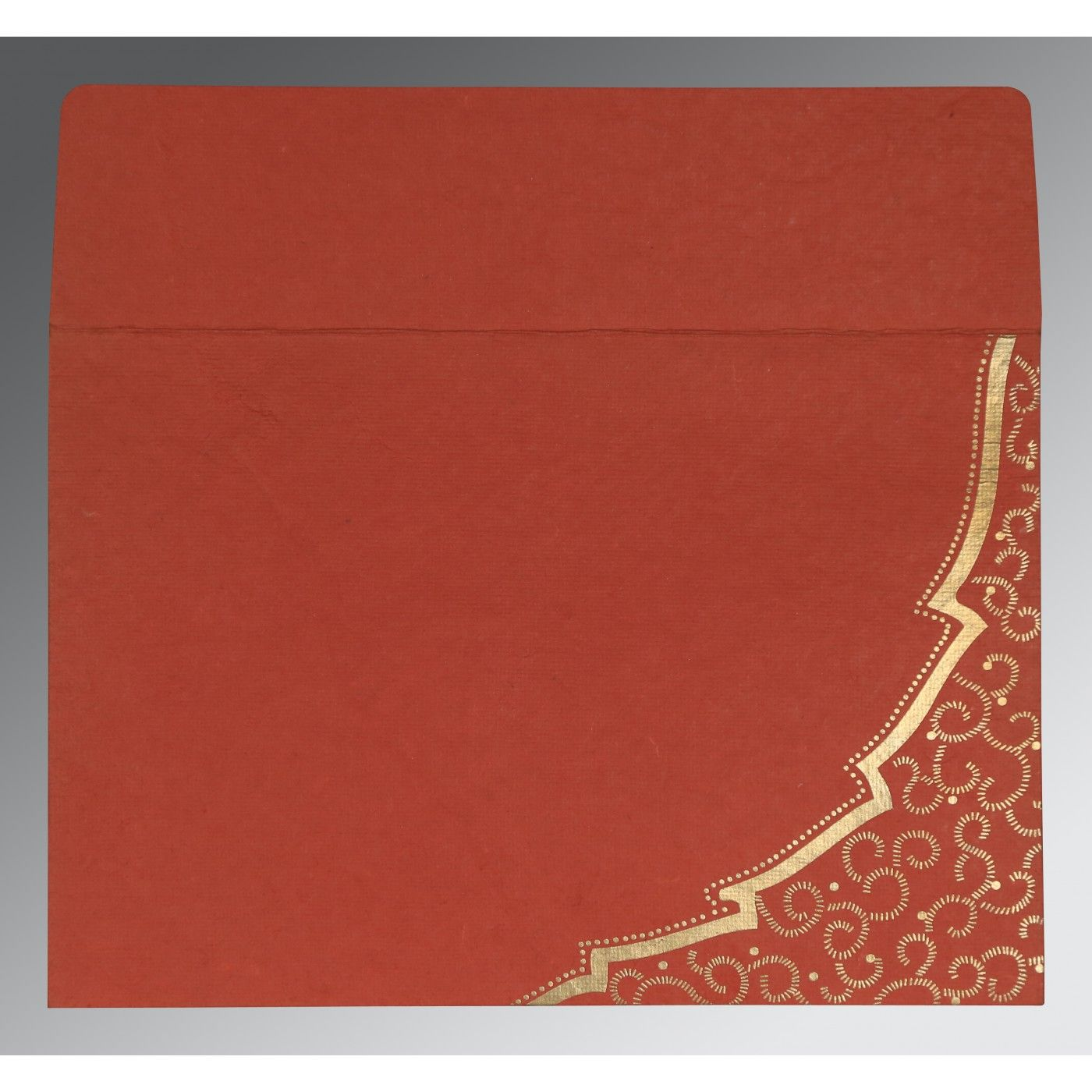 BRICK RED HANDMADE COTTON FLORAL THEMED - FOIL STAMPED WEDDING CARD : CW-8219I - IndianWeddingCards