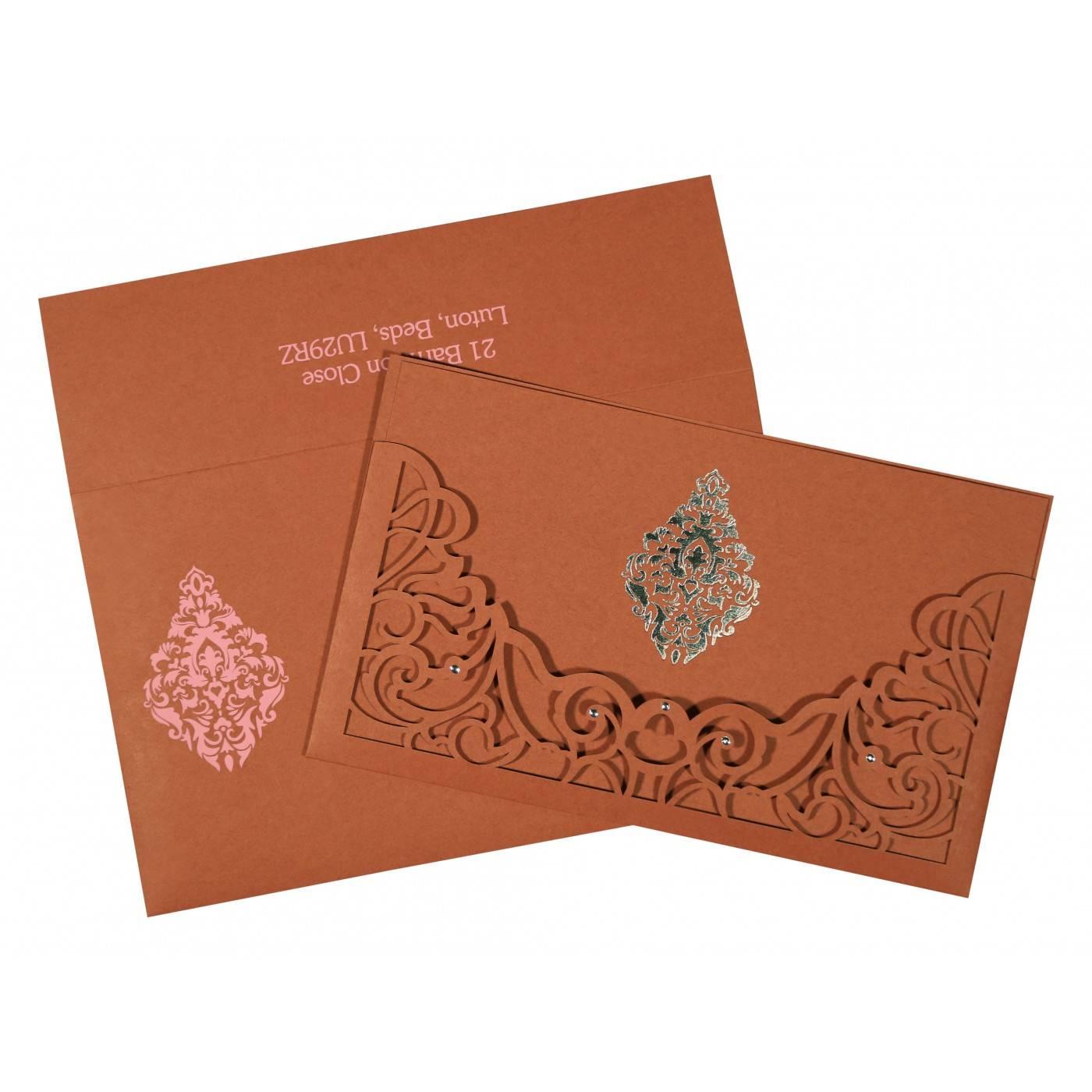 BRICK RED MATTE DAMASK THEMED - LASER CUT WEDDING CARD : CW-8262F - IndianWeddingCards