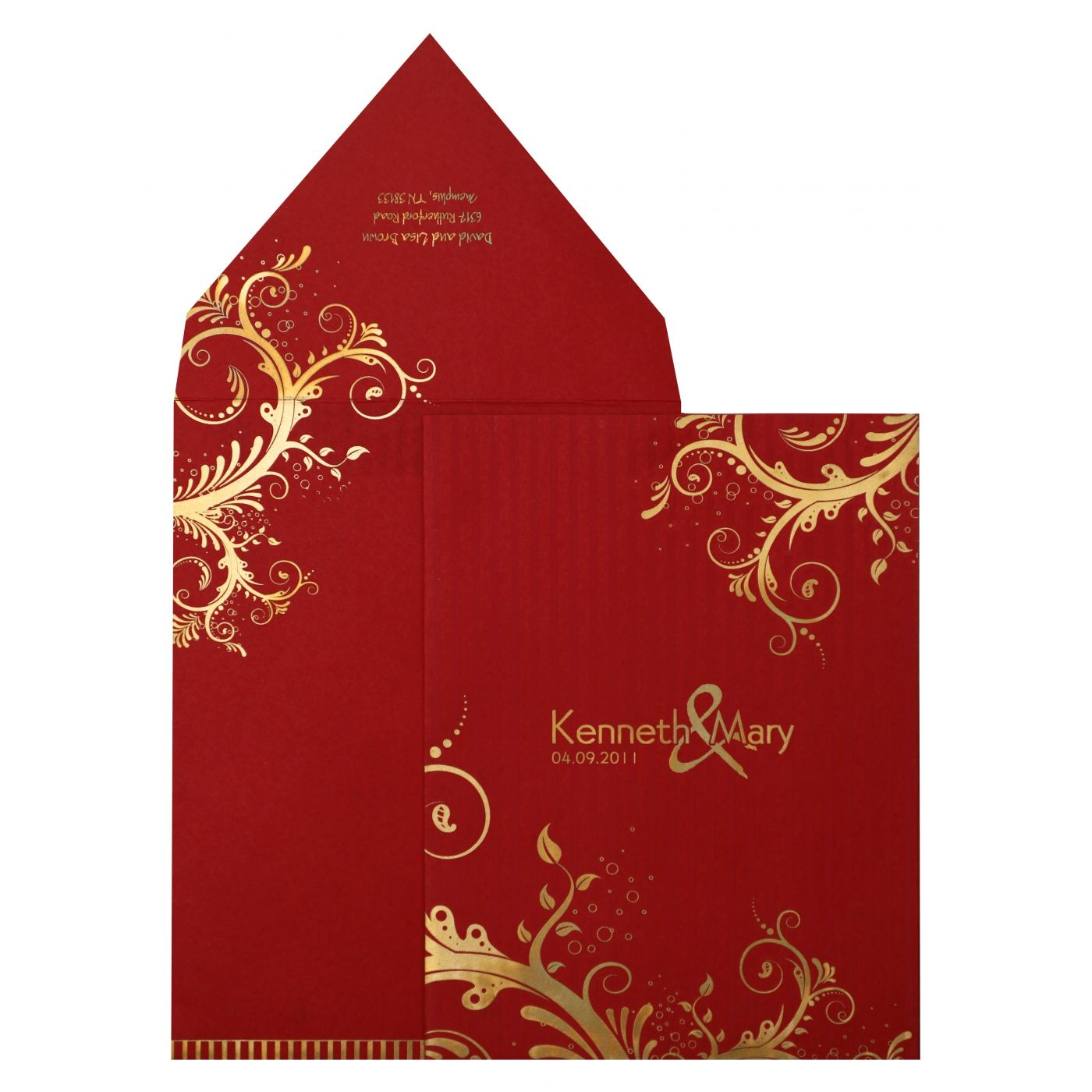 RED MATTE FLORAL THEMED - SCREEN PRINTED WEDDING INVITATION : CG-833 - IndianWeddingCards
