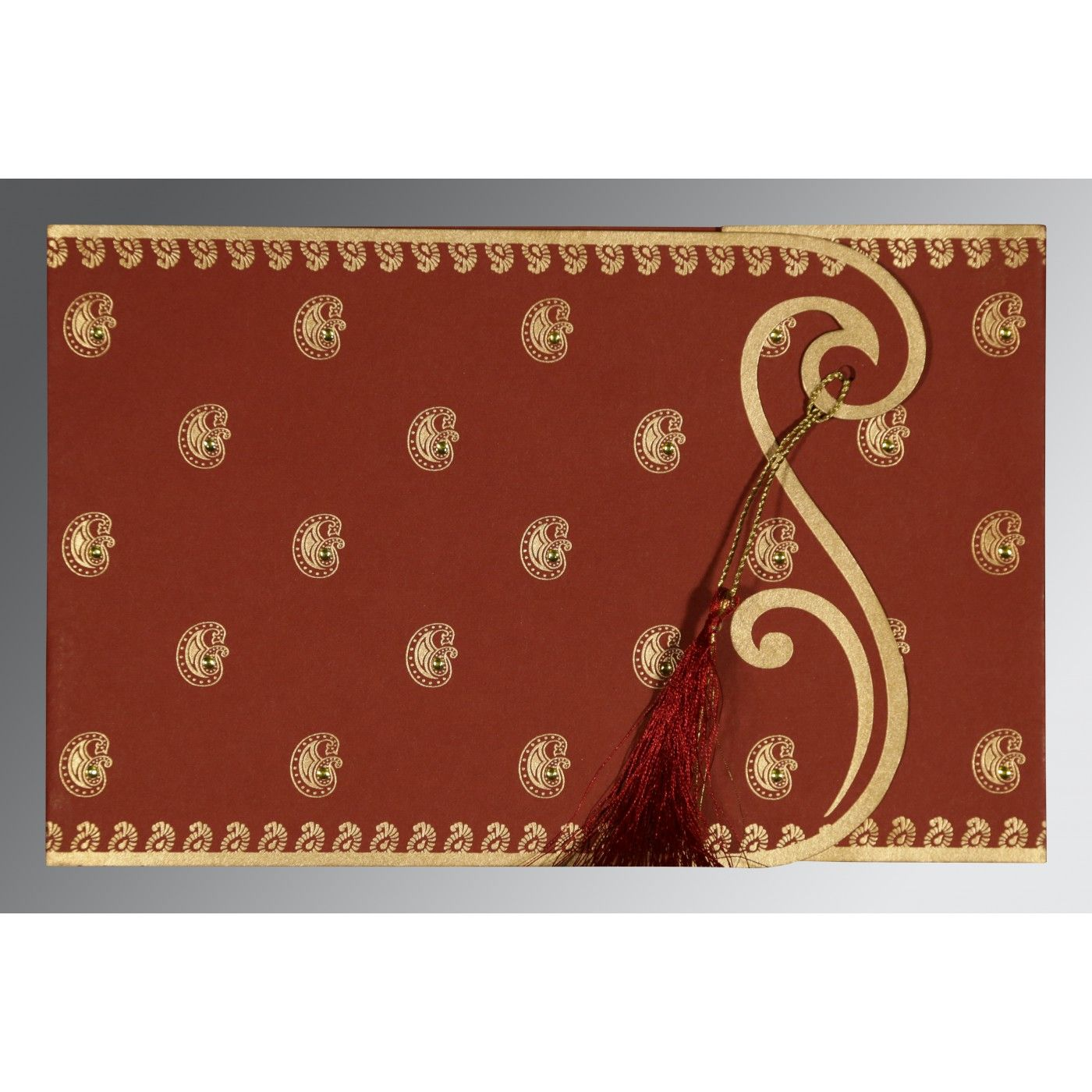 BRICK RED MATTE PAISLEY THEMED - SCREEN PRINTED WEDDING INVITATION : CG-8252A - IndianWeddingCards