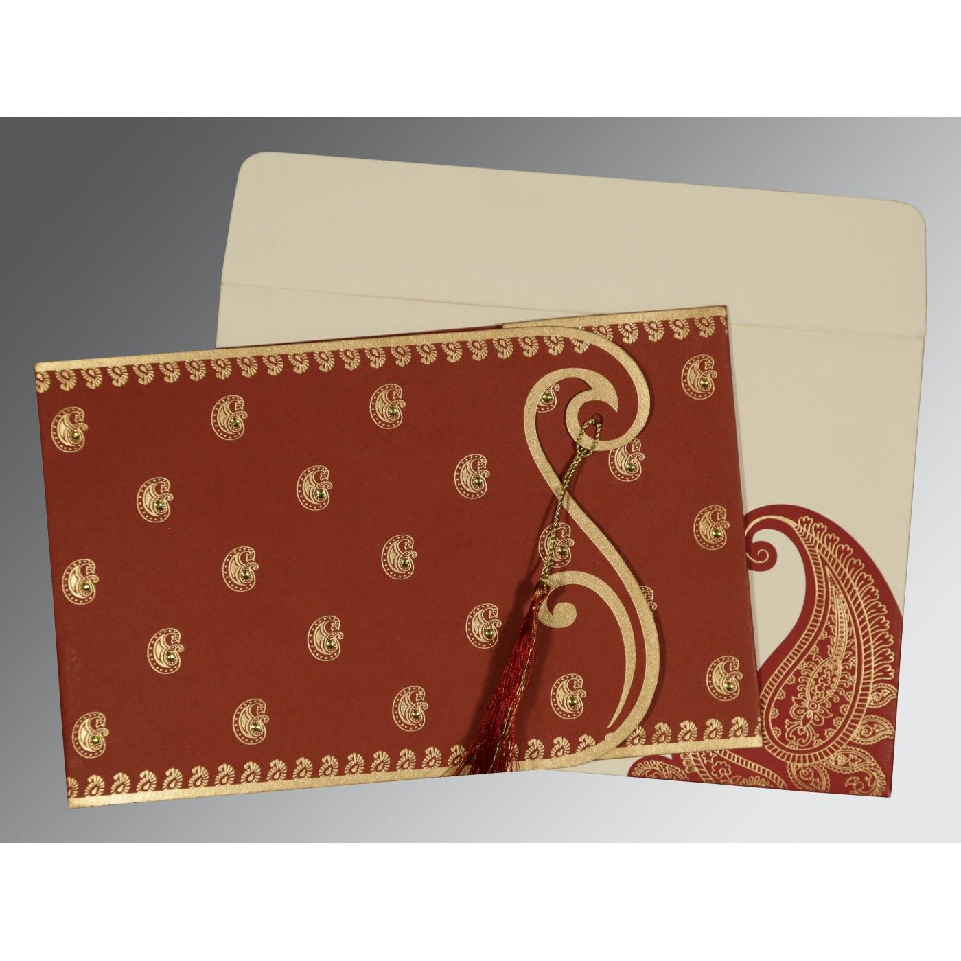 BRICK RED MATTE PAISLEY THEMED - SCREEN PRINTED WEDDING INVITATION : CSO-8252A - IndianWeddingCards