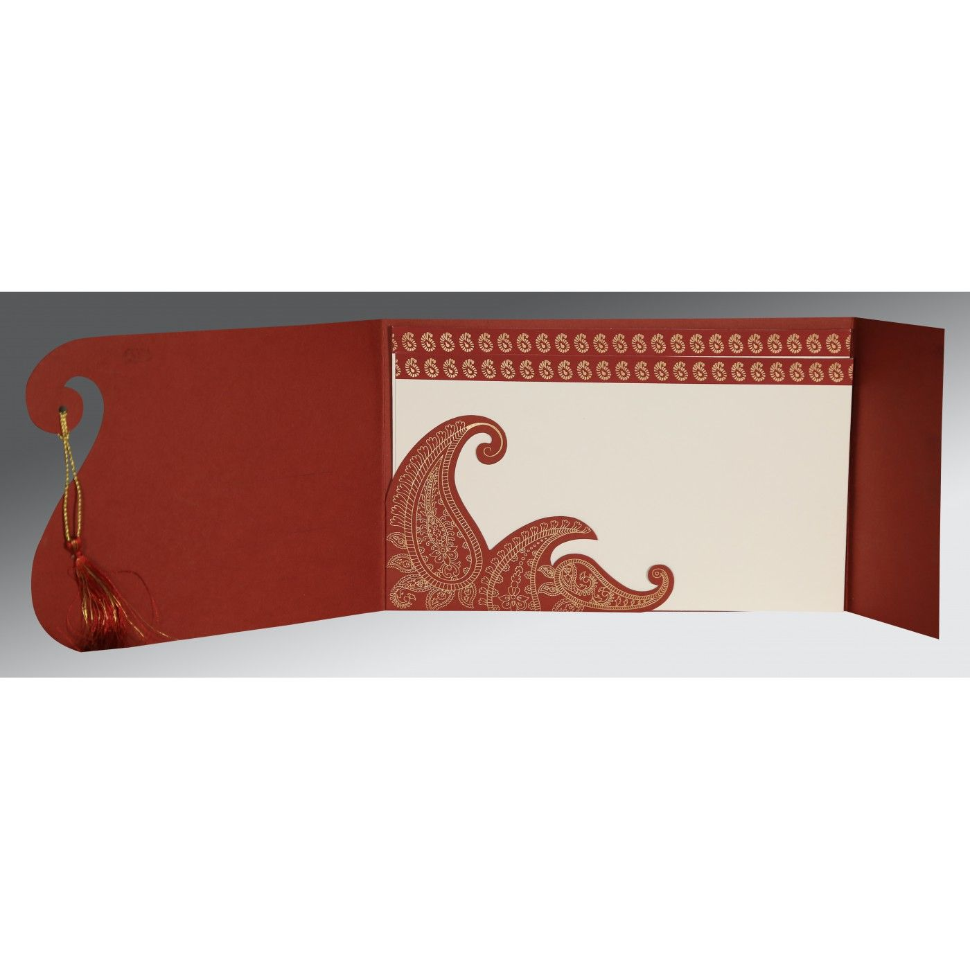BRICK RED MATTE PAISLEY THEMED - SCREEN PRINTED WEDDING INVITATION : CW-8252A - IndianWeddingCards
