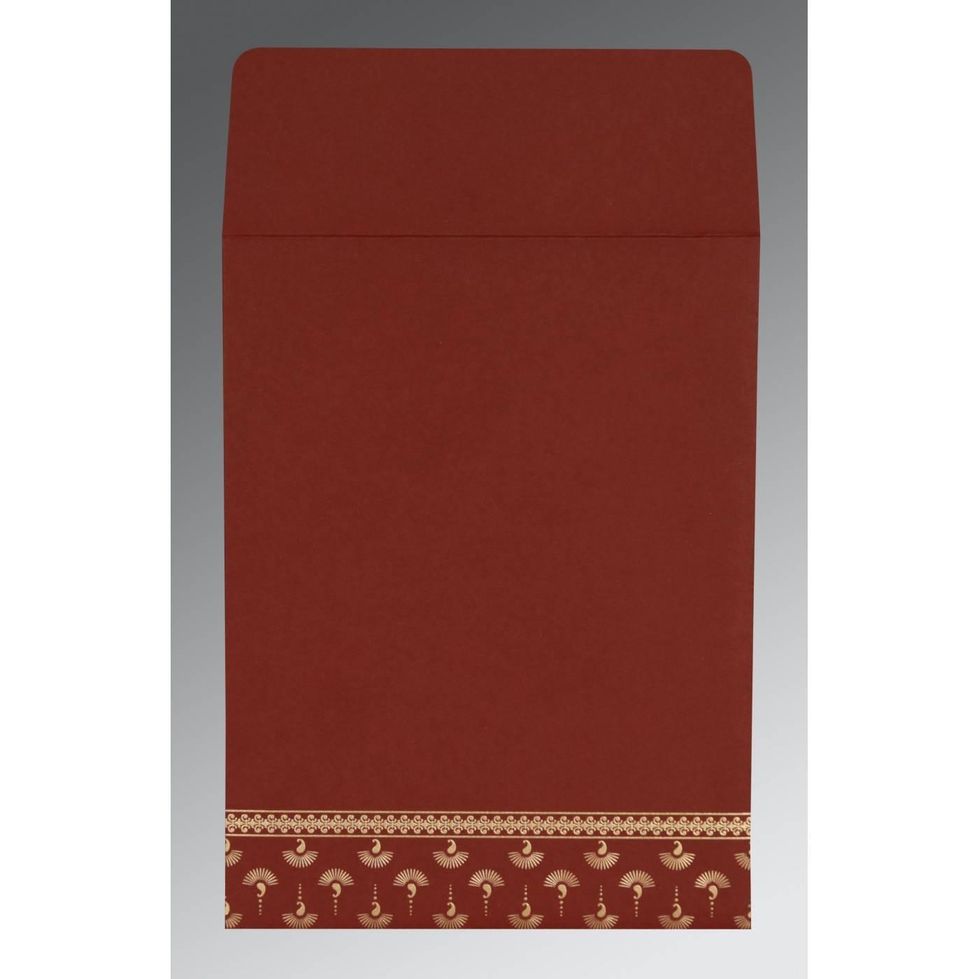 MAROON MATTE SCREEN PRINTED WEDDING INVITATION : CI-8247D - IndianWeddingCards