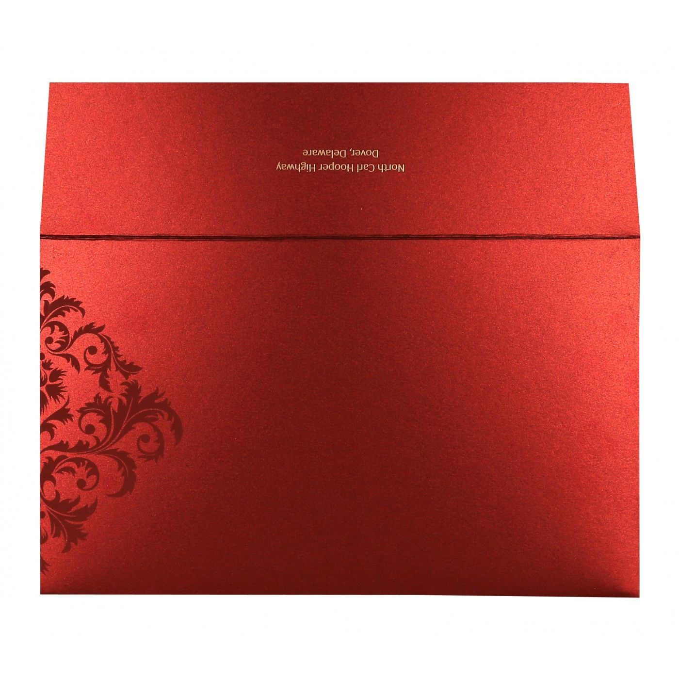 MODERATE RED SHIMMERY DAMASK THEMED - SCREEN PRINTED WEDDING CARD : CW-8257H - IndianWeddingCards
