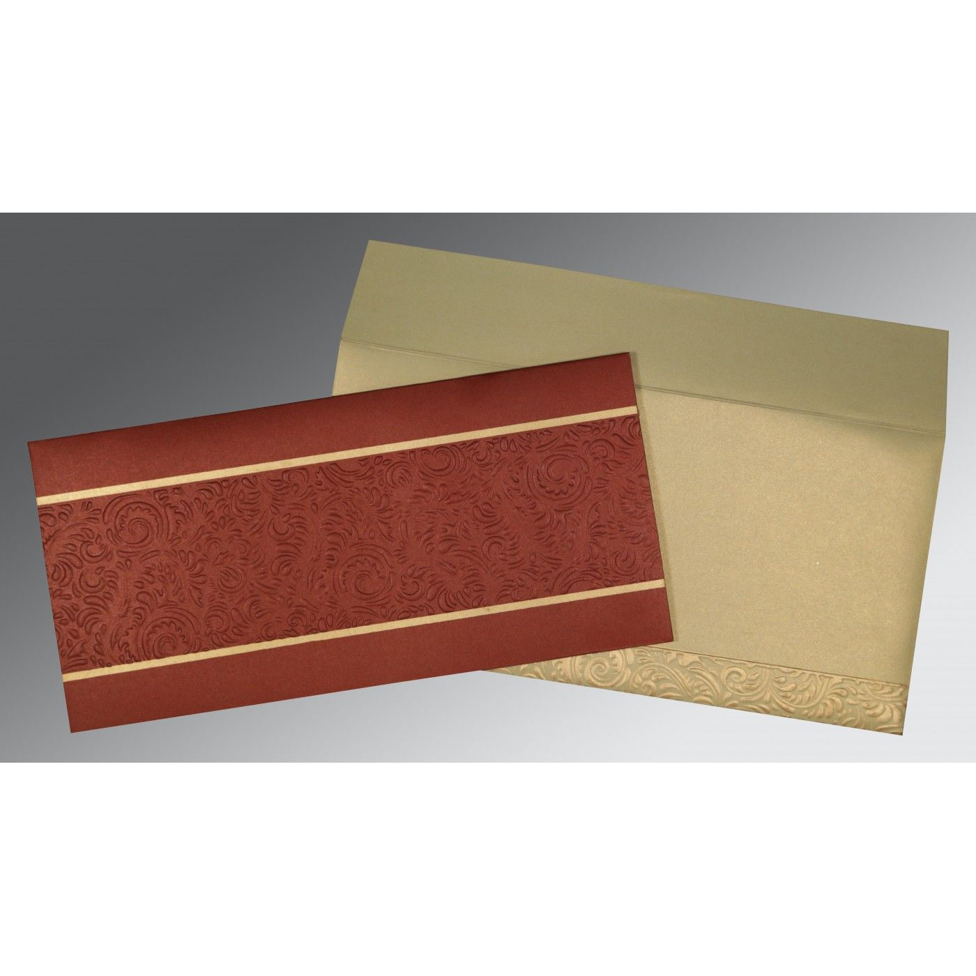 BRICK RED SHIMMERY EMBOSSED WEDDING INVITATION : CIN-1471 - IndianWeddingCards