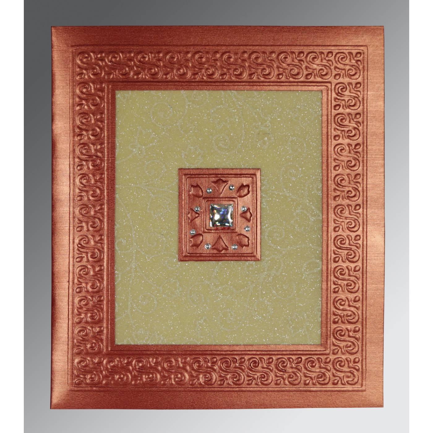 CREAM RED SHIMMERY EMBOSSED WEDDING INVITATION : CSO-1411 - IndianWeddingCards