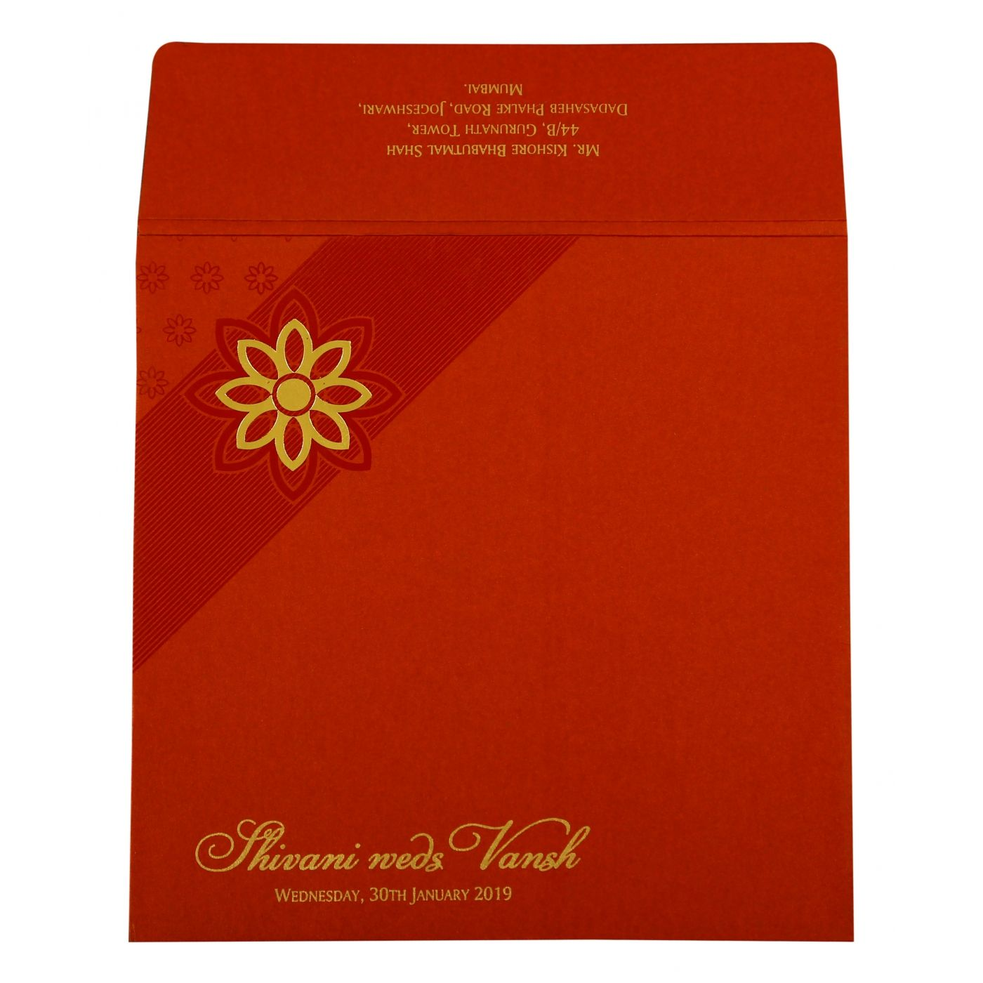 RED SHIMMERY FLORAL THEMED - FOIL STAMPED WEDDING INVITATION : CIN-1882 - IndianWeddingCards