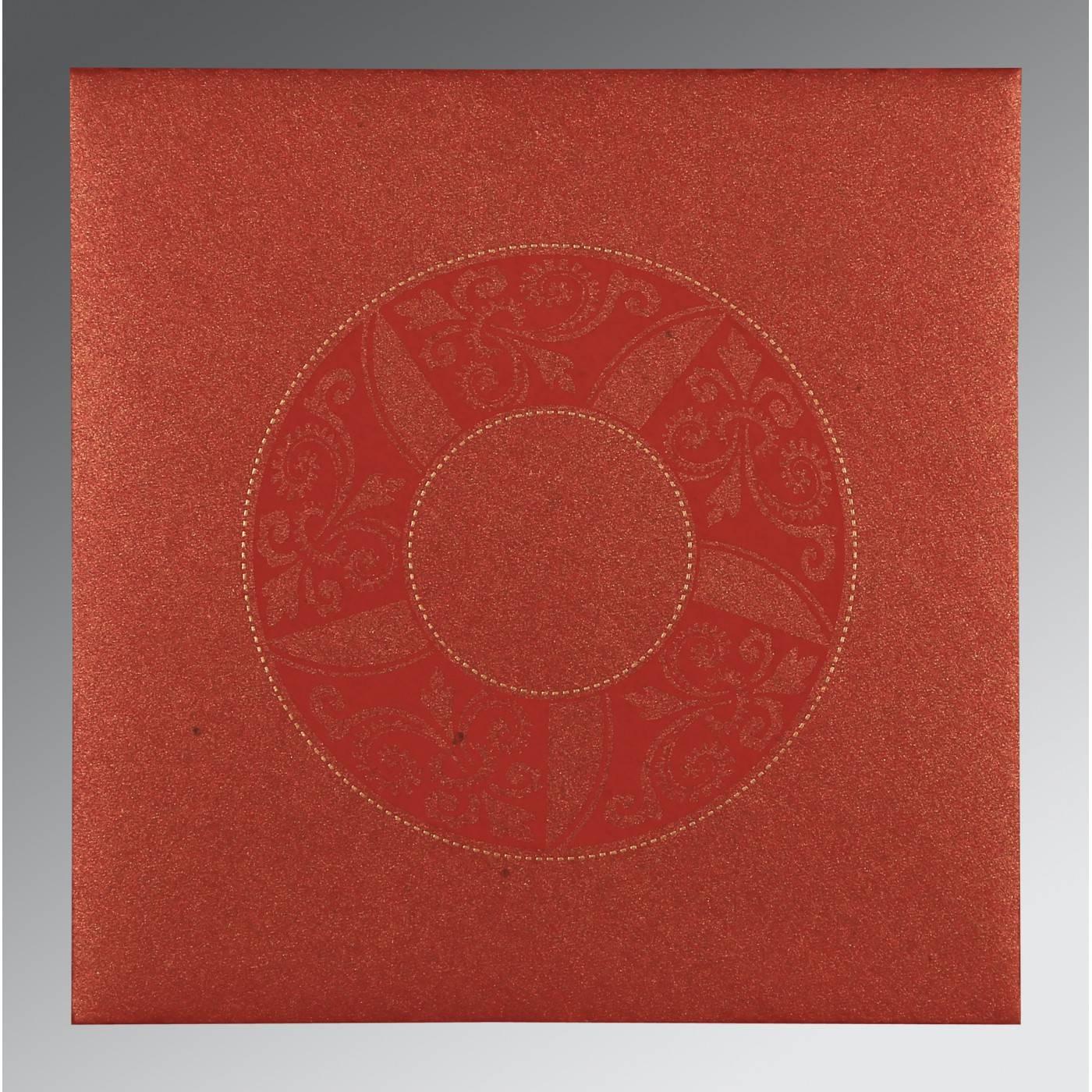 MAXICON RED SHIMMERY FLORAL THEMED - SCREEN PRINTED WEDDING CARD : CRU-8235C - IndianWeddingCards