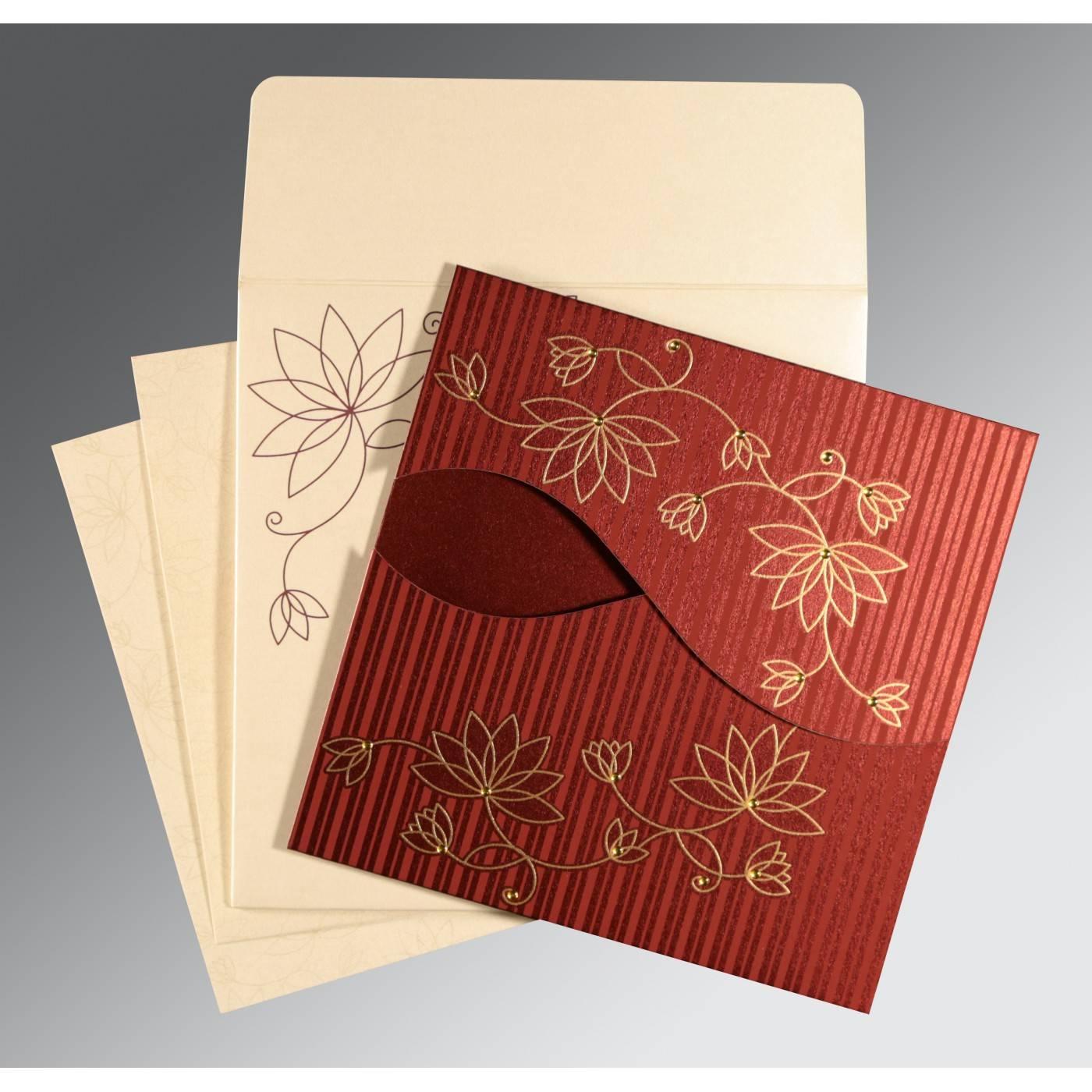 WINE RED SHIMMERY FLORAL THEMED - SCREEN PRINTED WEDDING INVITATION : RU-8251L - 123WeddingCards