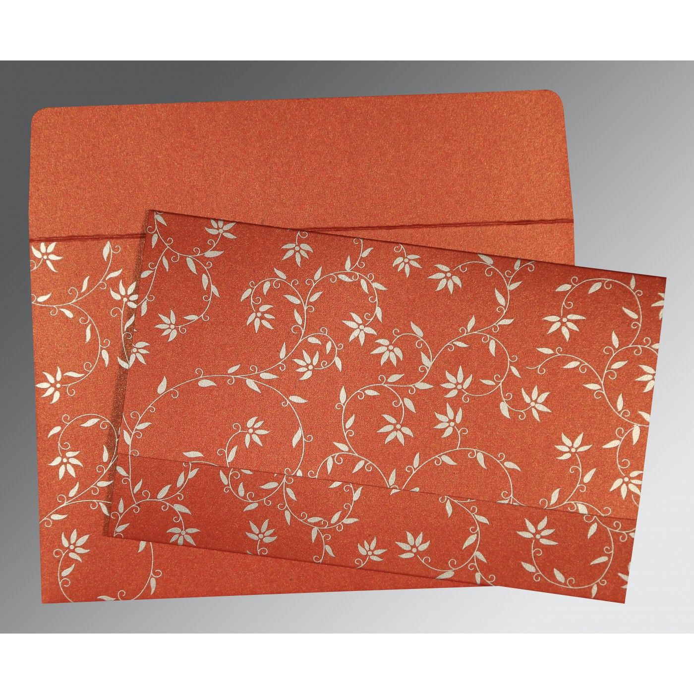 BRICK RED SHIMMERY FLORAL THEMED - SCREEN PRINTED WEDDING INVITATION : CW-8226I - IndianWeddingCards