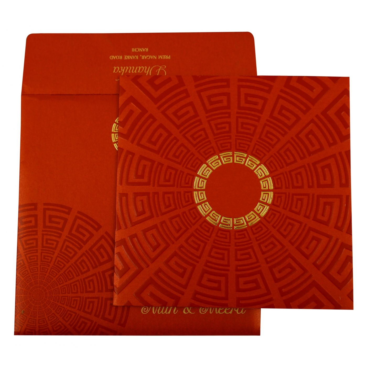 RED SHIMMERY FOIL STAMPED WEDDING INVITATION : CI-1888 - IndianWeddingCards