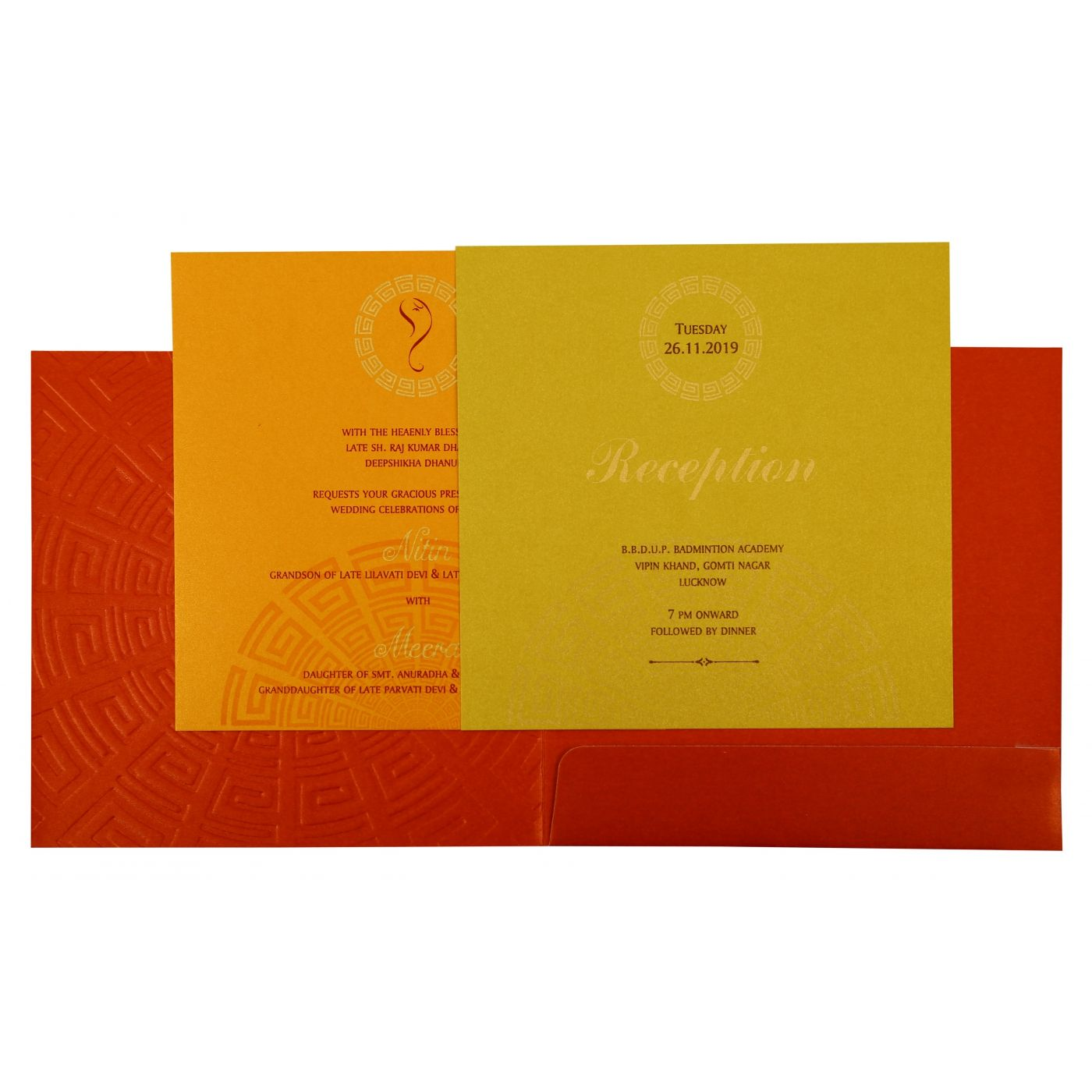 RED SHIMMERY FOIL STAMPED WEDDING INVITATION : CIN-1888 - IndianWeddingCards