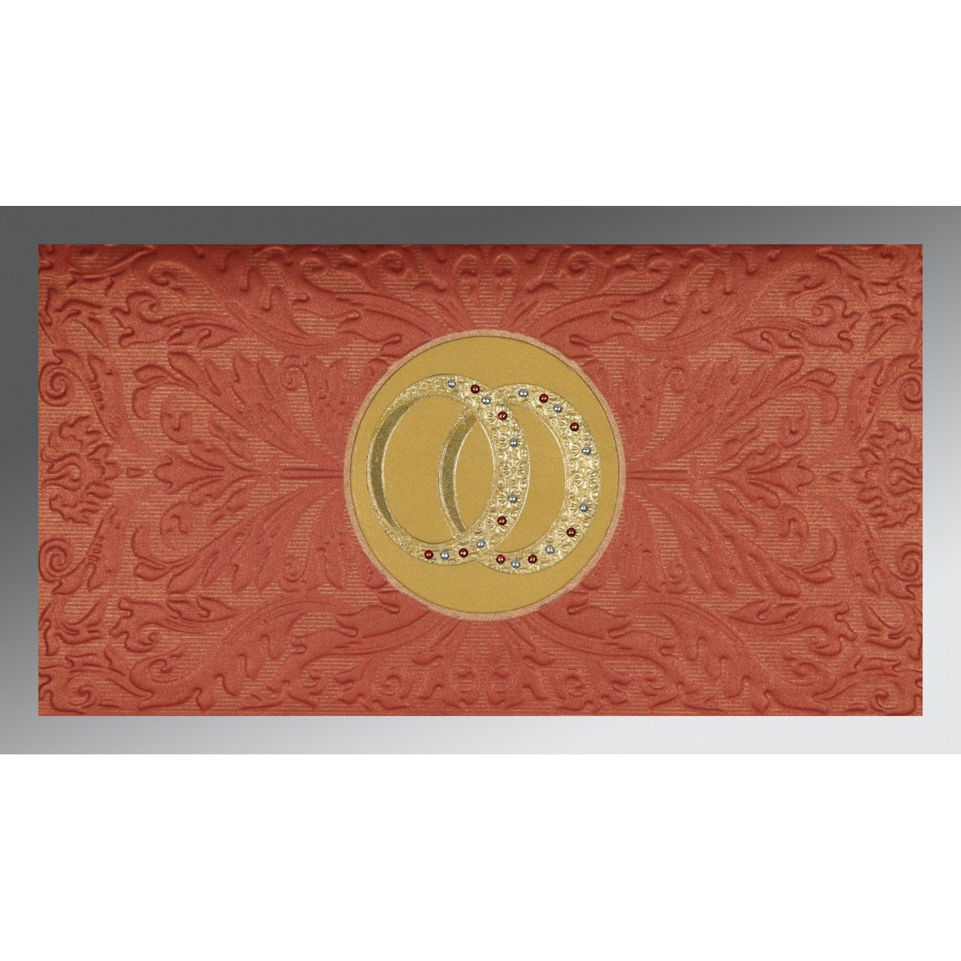 BRICK RED COPPER SHIMMERY FOIL STAMPED WEDDING CARD : CIN-1465 - IndianWeddingCards