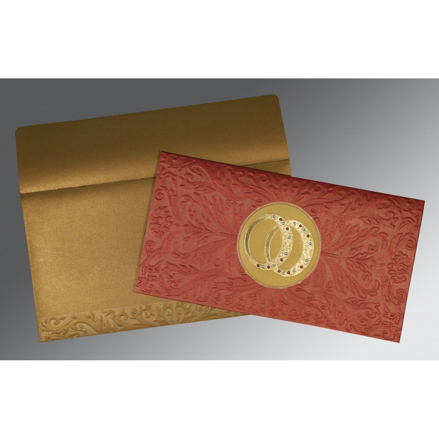 BRICK RED COPPER SHIMMERY FOIL STAMPED WEDDING CARD : CSO-1465 - IndianWeddingCards