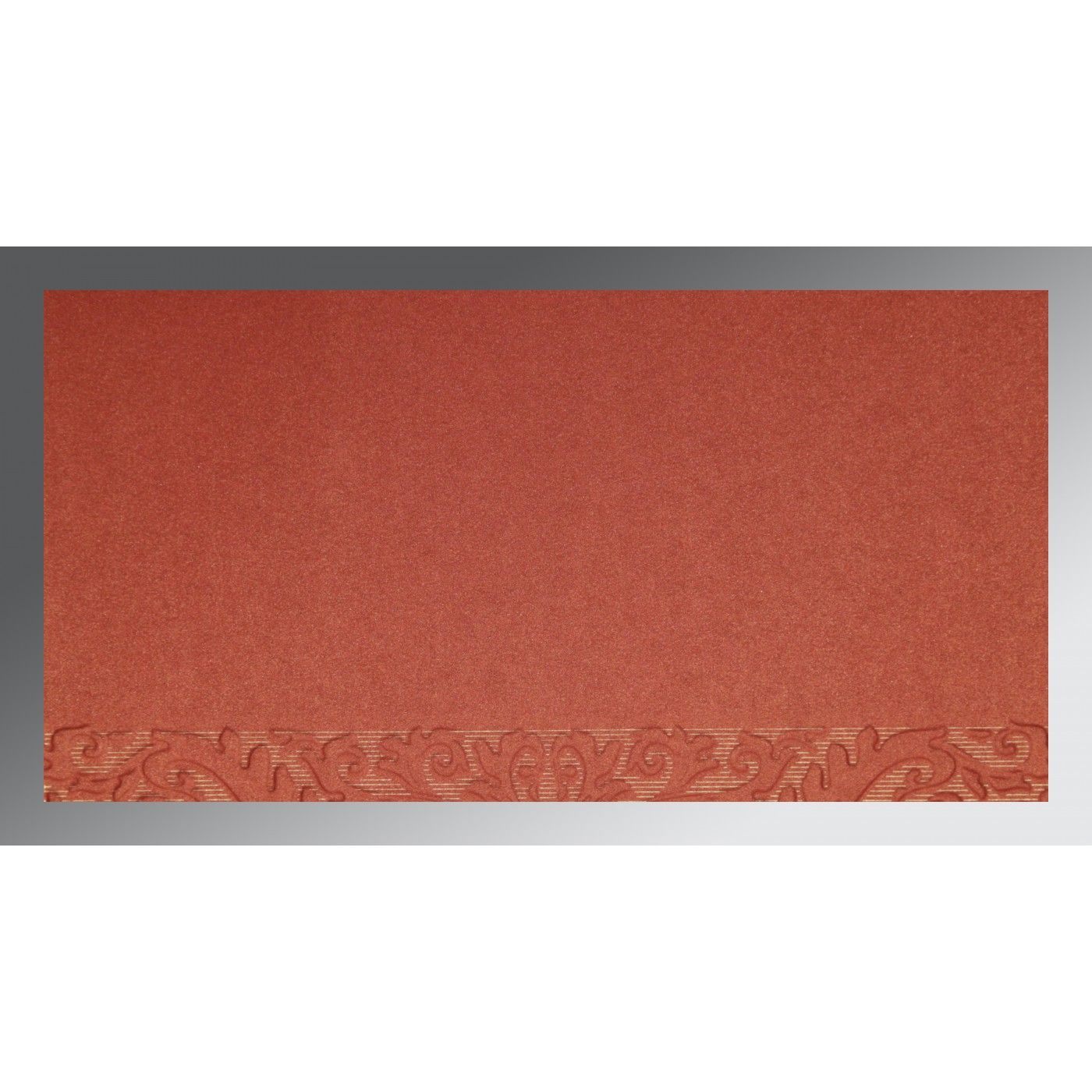 BRICK RED COPPER SHIMMERY FOIL STAMPED WEDDING CARD : CW-1463 - IndianWeddingCards