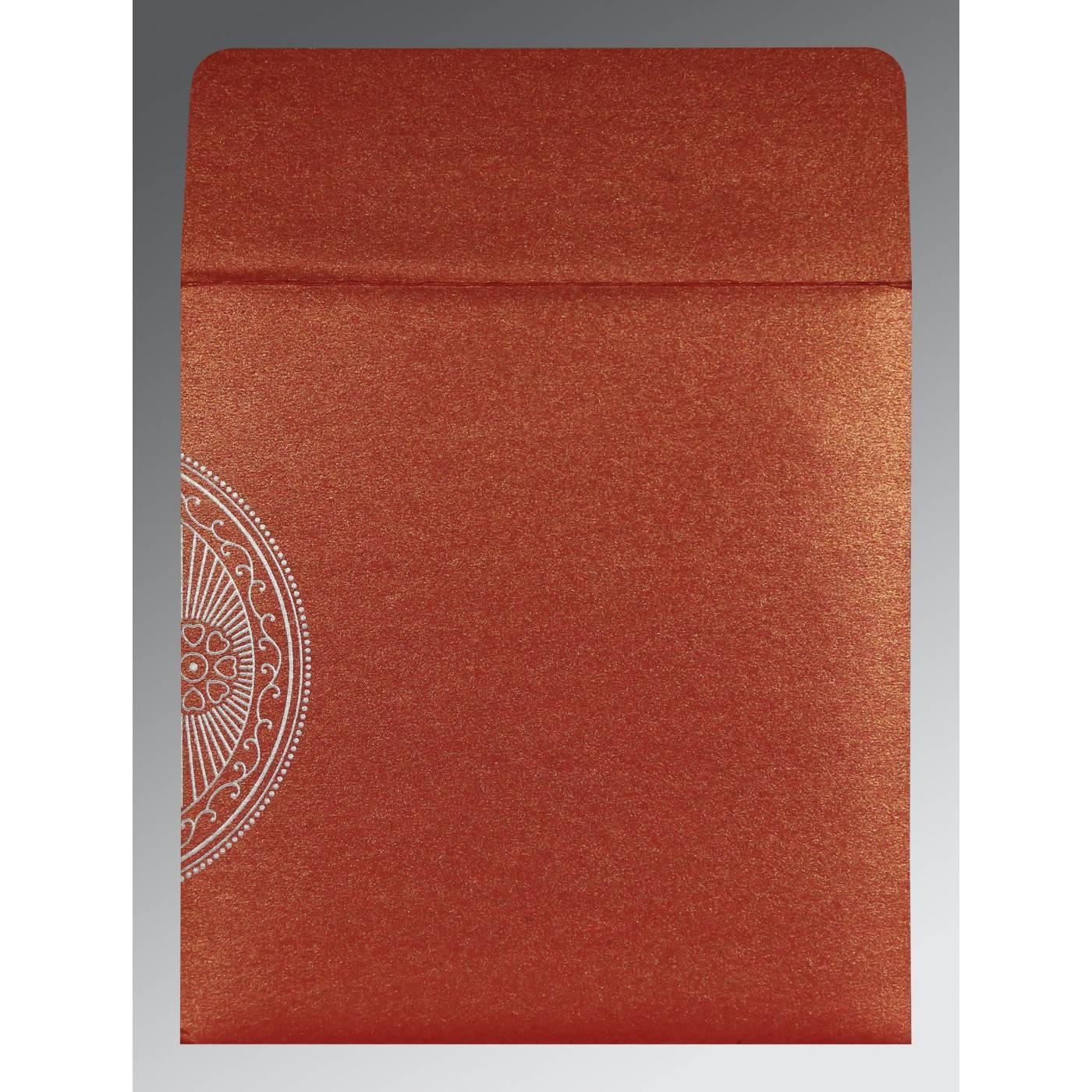 MOJO SHIMMERY PAISLEY THEMED - FOIL STAMPED WEDDING INVITATION : CRU-8230C - IndianWeddingCards