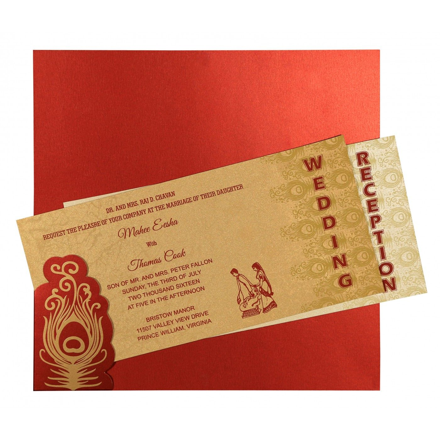 STRONG RED SHIMMERY PEACOCK THEMED - SCREEN PRINTED WEDDING INVITATION : CSO-8256C - IndianWeddingCards
