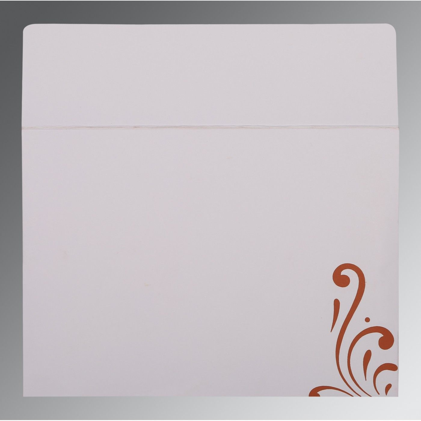 BURNT ORANGE SHIMMERY SCREEN PRINTED WEDDING CARD : CD-8223C - IndianWeddingCards