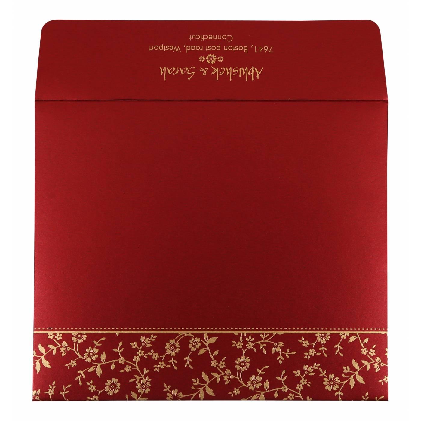 WINE RED SHIMMERY SCREEN PRINTED WEDDING INVITATION : CIN-804B - IndianWeddingCards